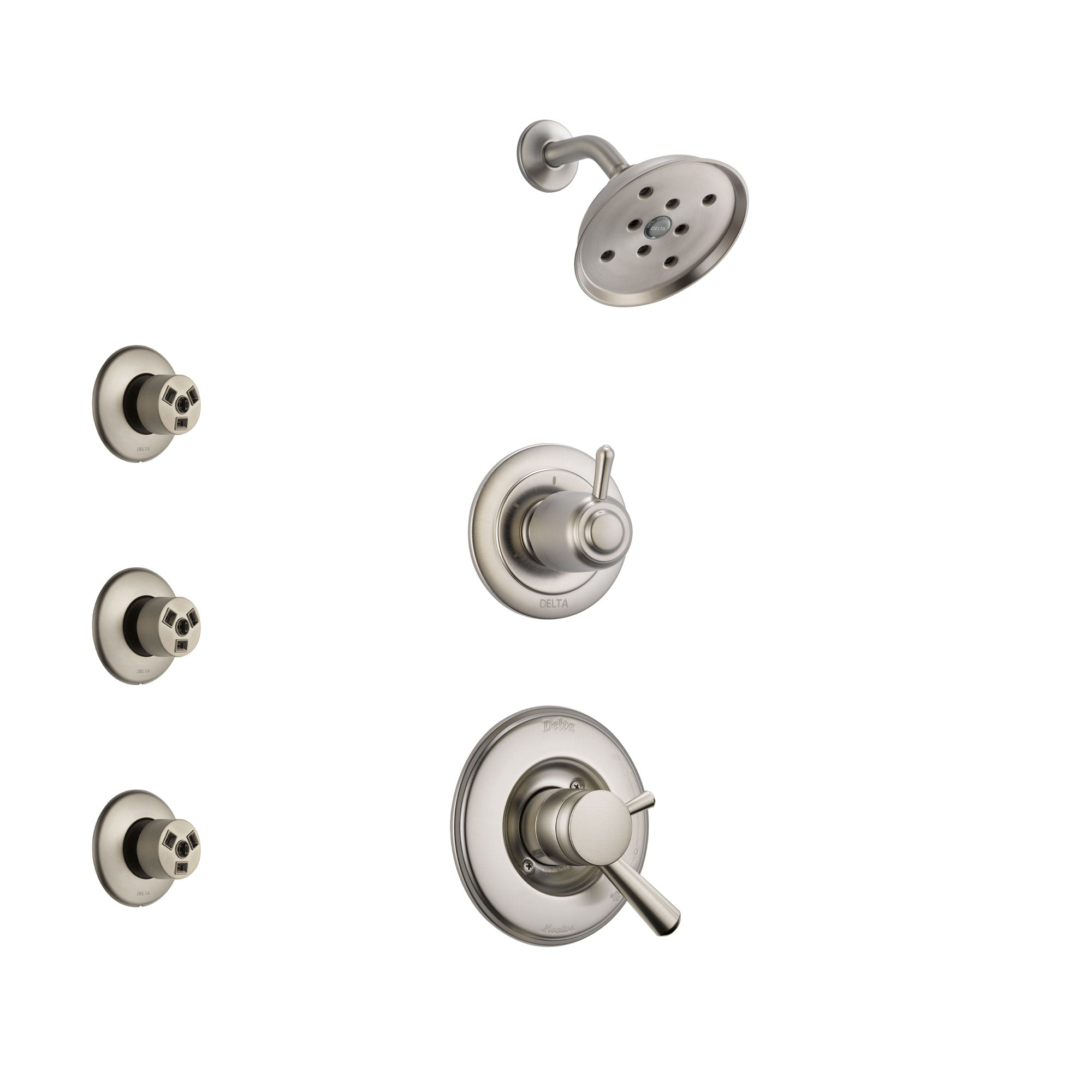 Delta Linden Stainless Steel Finish Shower System with Dual Control Handle, 3-Setting Diverter, Showerhead, and 3 Body Sprays SS17293SS1