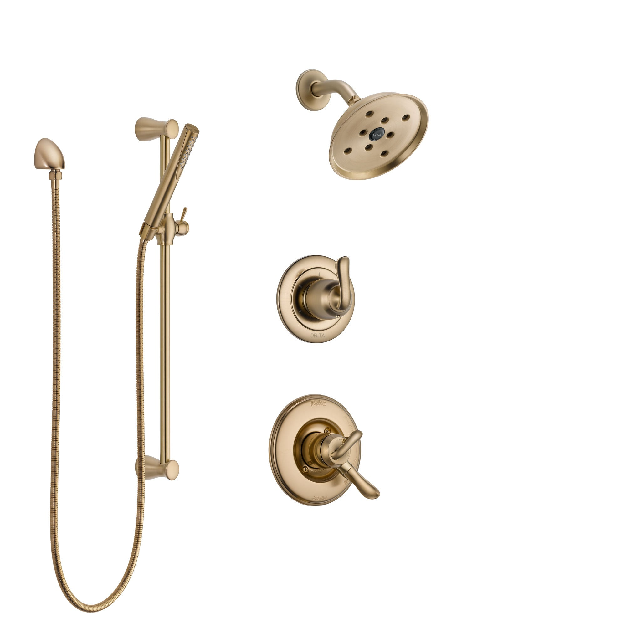 Delta Linden Champagne Bronze Finish Shower System with Dual Control Handle, 3-Setting Diverter, Showerhead, and Hand Shower with Slidebar SS17294CZ2
