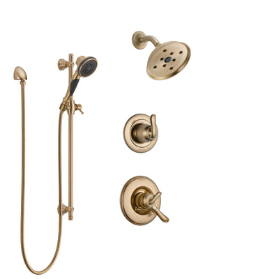Delta Linden Champagne Bronze Finish Shower System with Dual Control Handle, 3-Setting Diverter, Showerhead, and Hand Shower with Slidebar SS17294CZ3