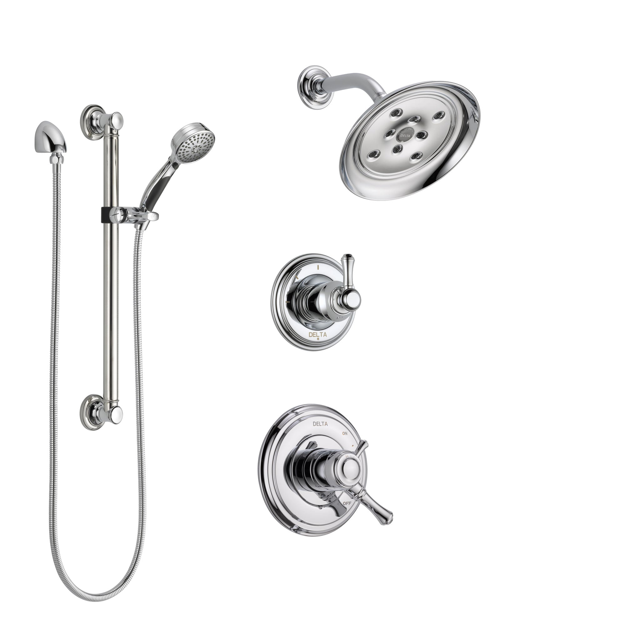 Delta Cassidy Chrome Finish Shower System with Dual Control Handle, 3-Setting Diverter, Showerhead, and Hand Shower with Grab Bar SS172973