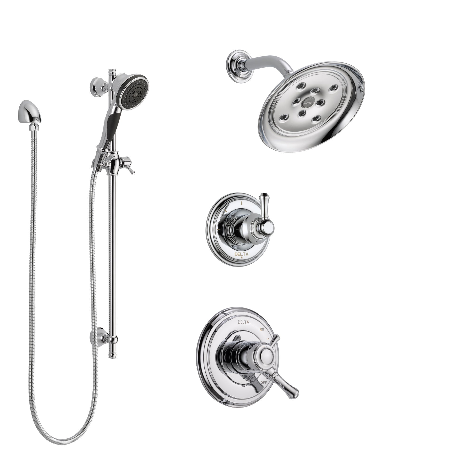 Delta Cassidy Chrome Finish Shower System with Dual Control Handle, 3-Setting Diverter, Showerhead, and Hand Shower with Slidebar SS172975