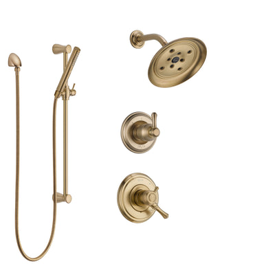 Delta Cassidy Champagne Bronze Finish Shower System with Dual Control Handle, 3-Setting Diverter, Showerhead, and Hand Shower with Slidebar SS17297CZ2