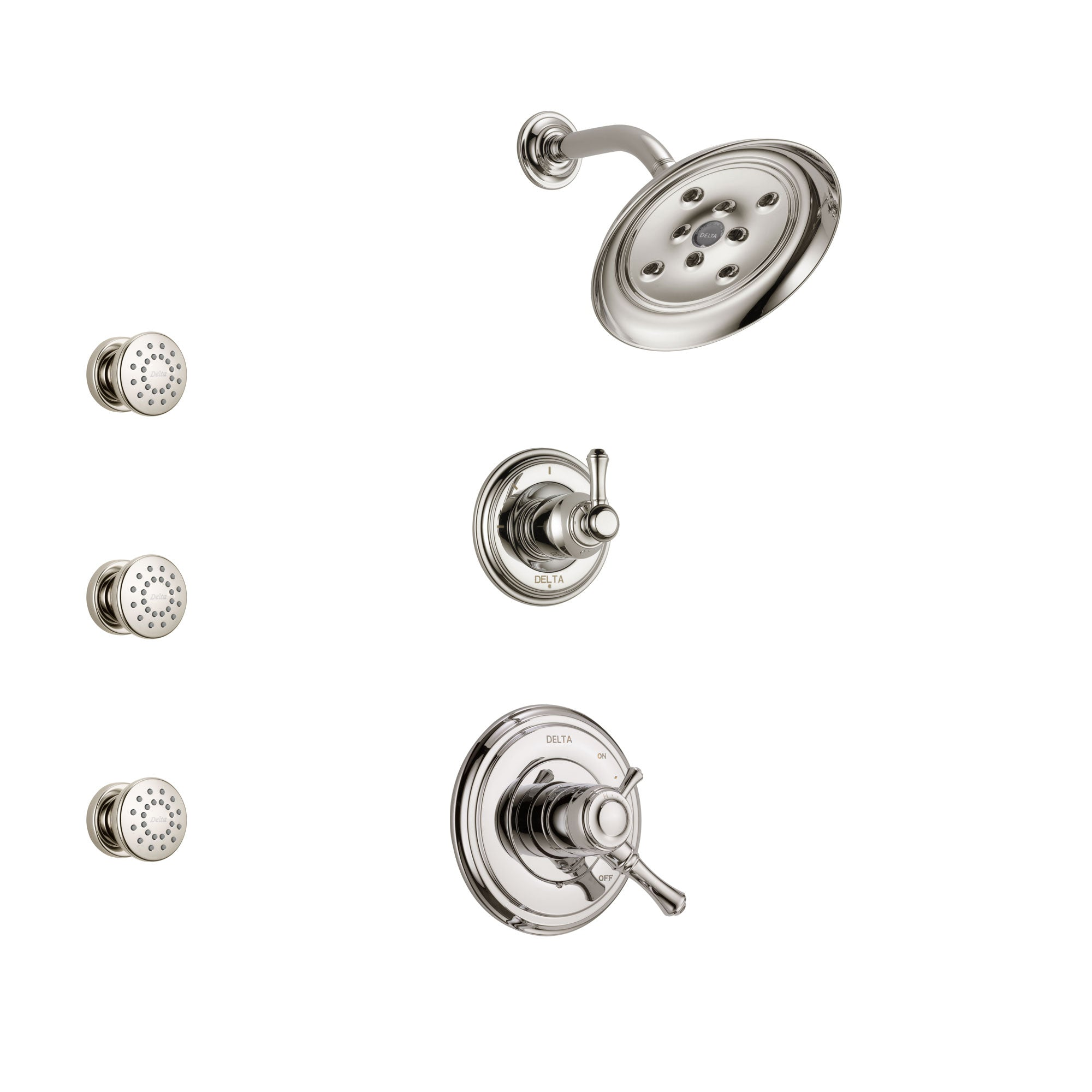 Delta Cassidy Polished Nickel Finish Shower System with Dual Control Handle, 3-Setting Diverter, Showerhead, and 3 Body Sprays SS17297PN1