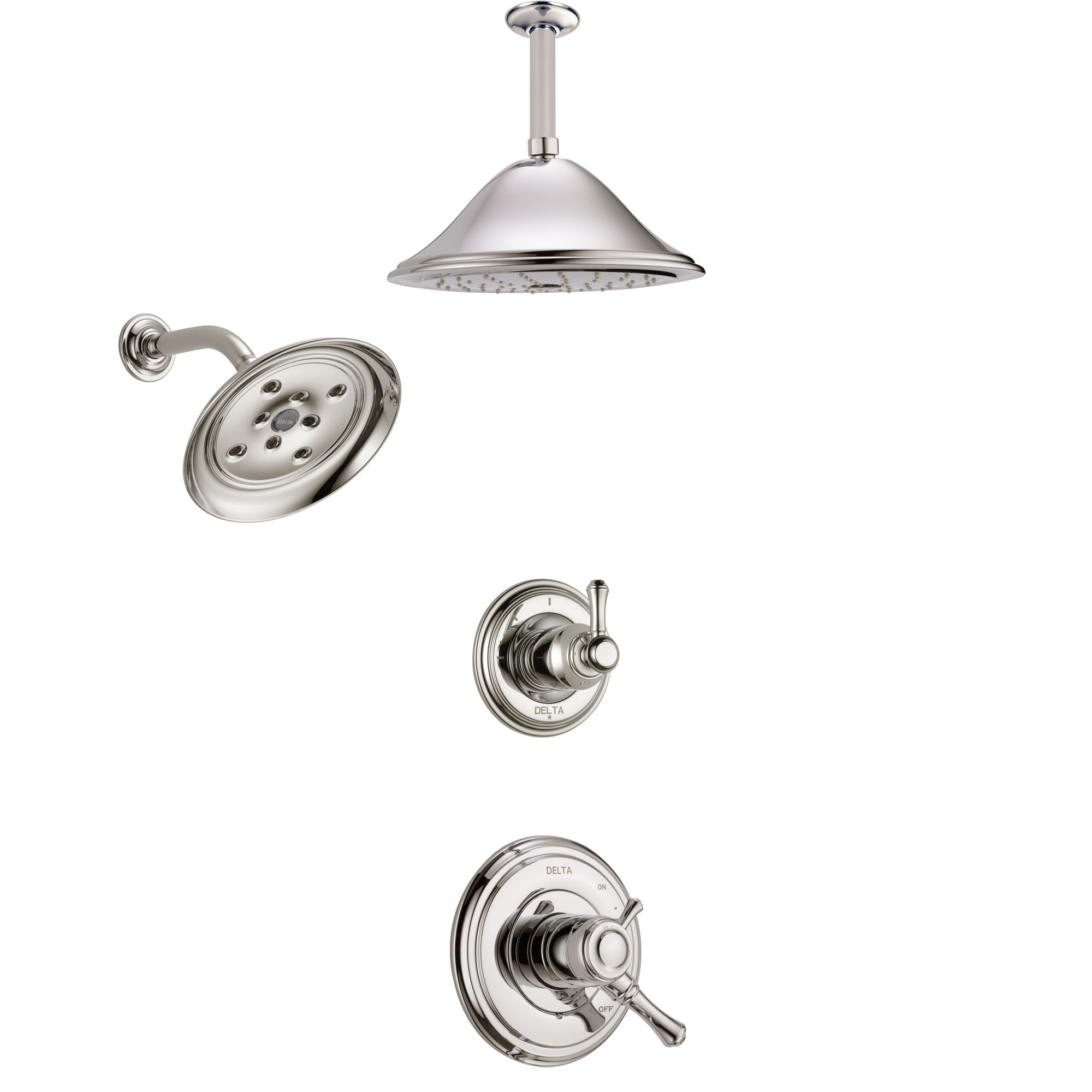 Delta Cassidy Polished Nickel Finish Shower System with Dual Control Handle, 3-Setting Diverter, Showerhead, and Ceiling Mount Showerhead SS17297PN3