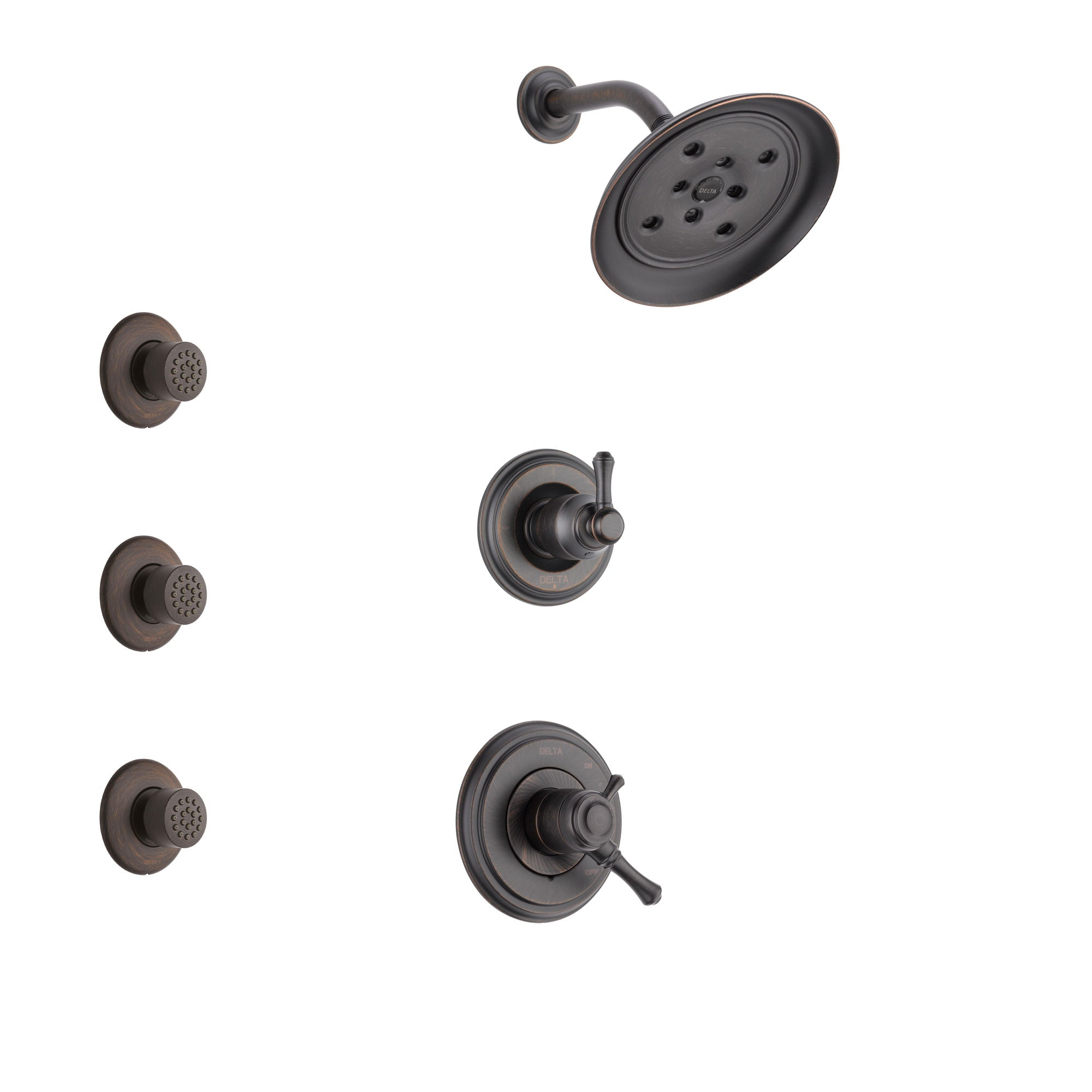Delta Cassidy Venetian Bronze Finish Shower System with Dual Control Handle, 3-Setting Diverter, Showerhead, and 3 Body Sprays SS17297RB1