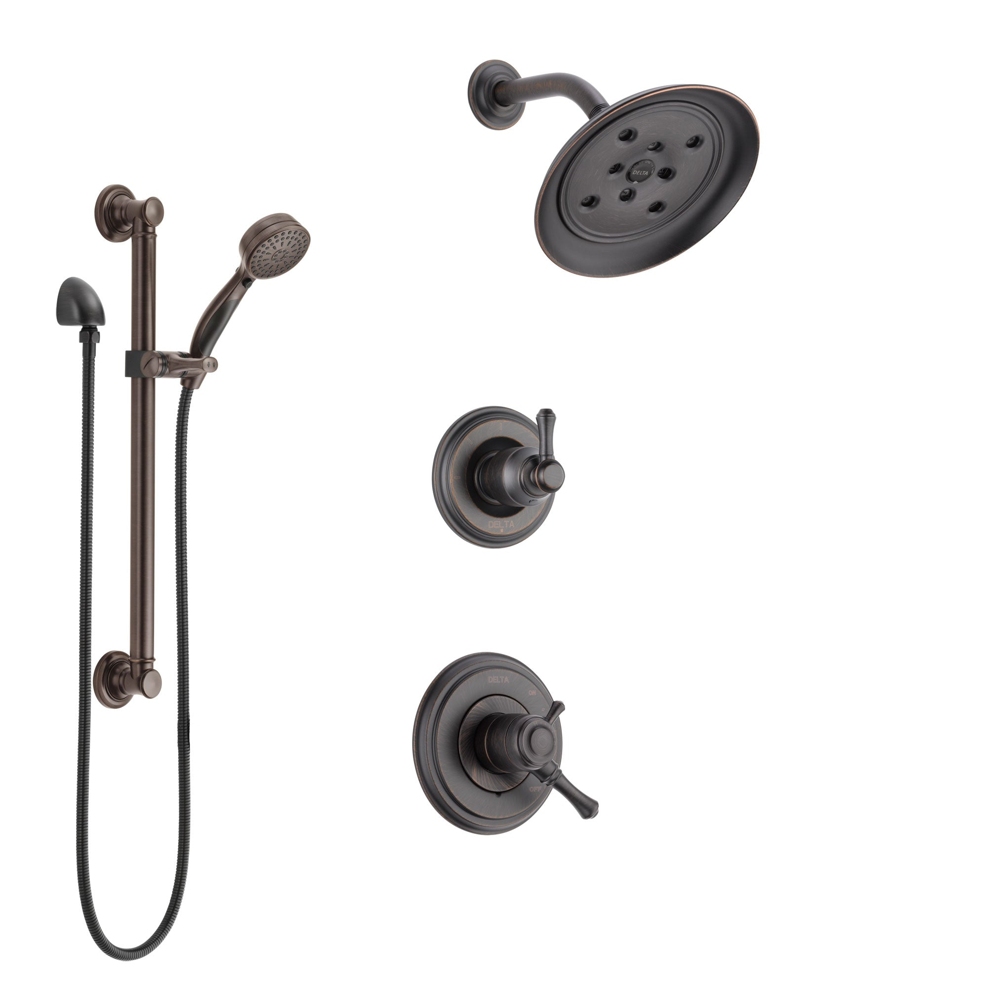 Delta Cassidy Venetian Bronze Finish Shower System with Dual Control Handle, 3-Setting Diverter, Showerhead, and Hand Shower with Grab Bar SS17297RB3