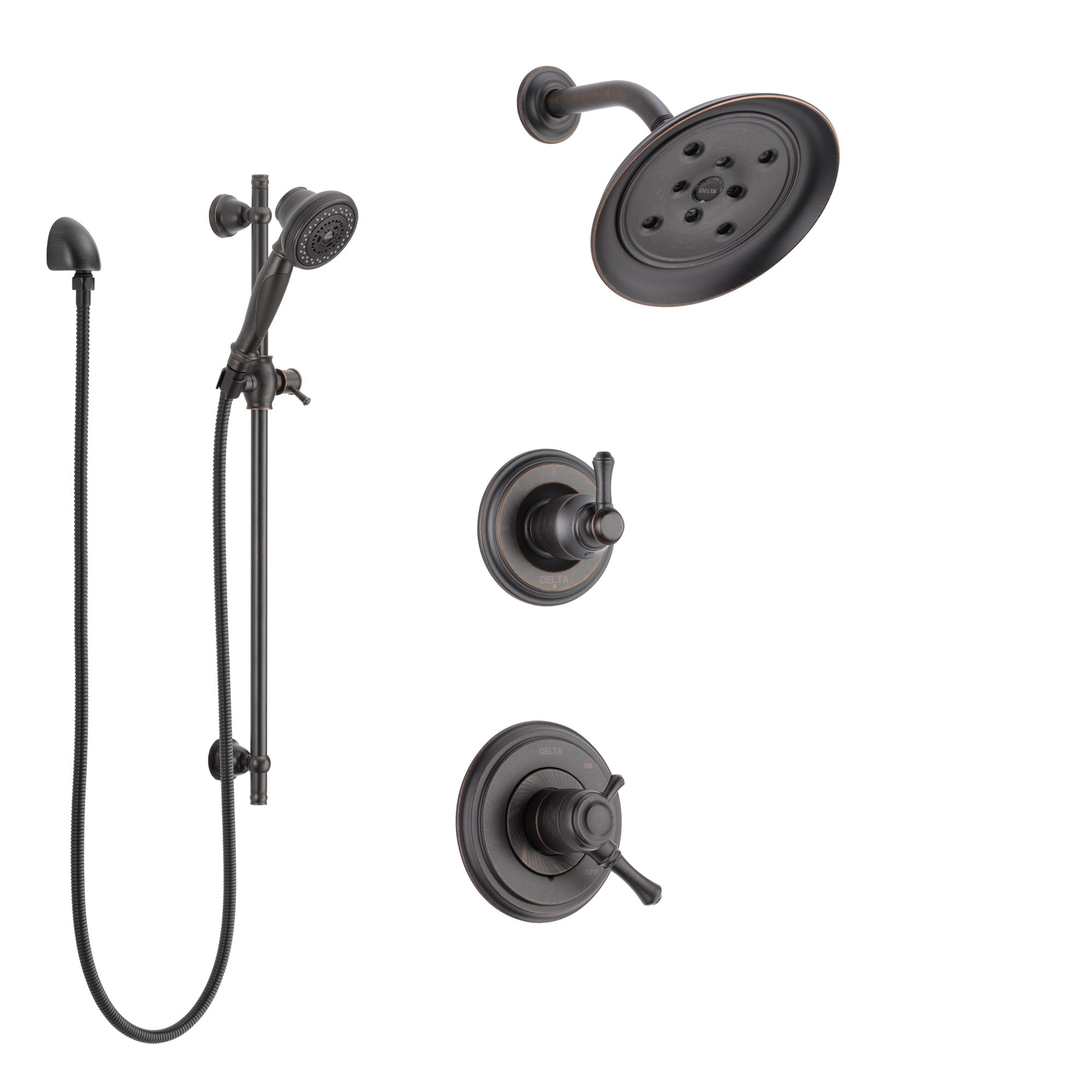 Delta Cassidy Venetian Bronze Finish Shower System with Dual Control Handle, 3-Setting Diverter, Showerhead, and Hand Shower with Slidebar SS17297RB5