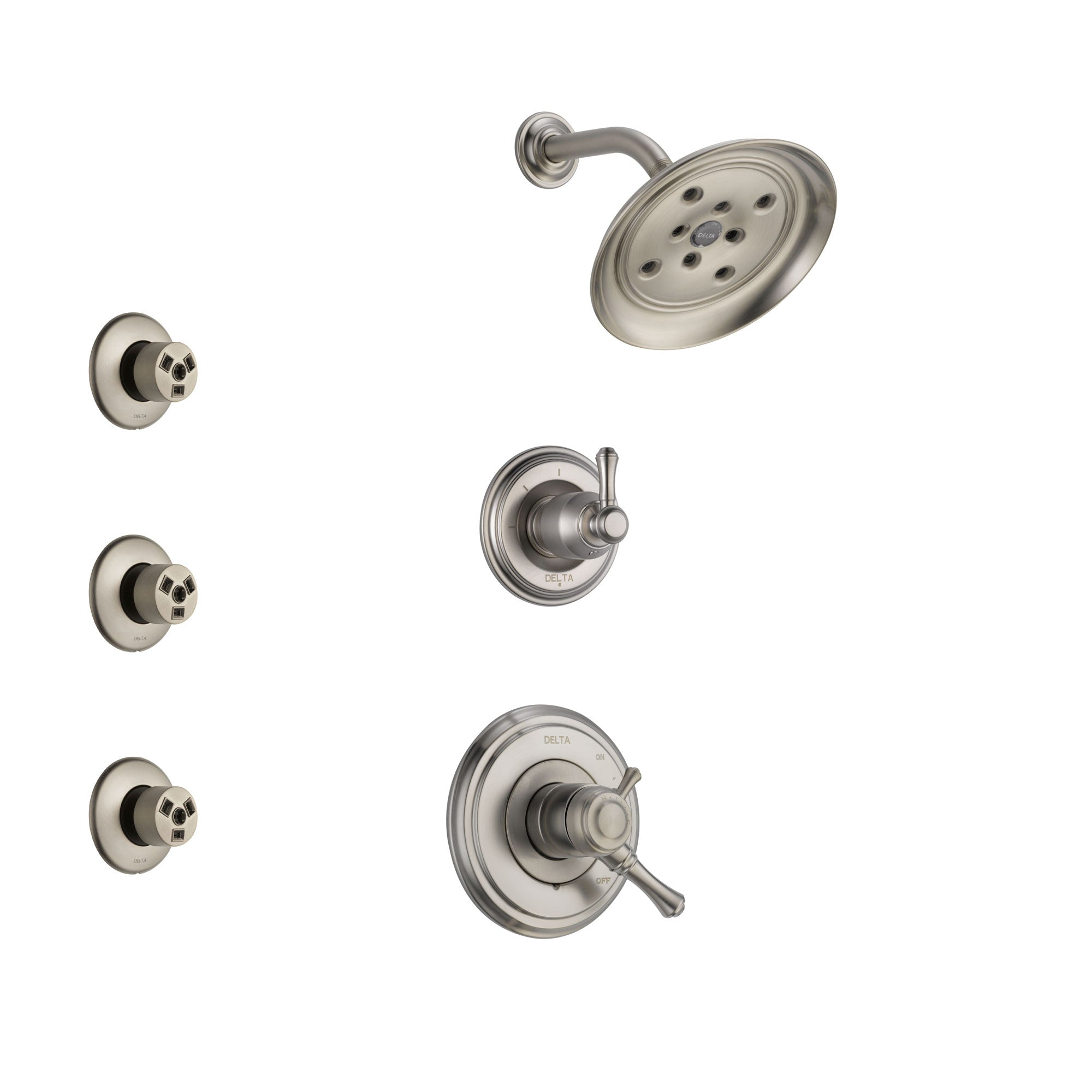 Delta Cassidy Stainless Steel Finish Shower System with Dual Control Handle, 3-Setting Diverter, Showerhead, and 3 Body Sprays SS17297SS1