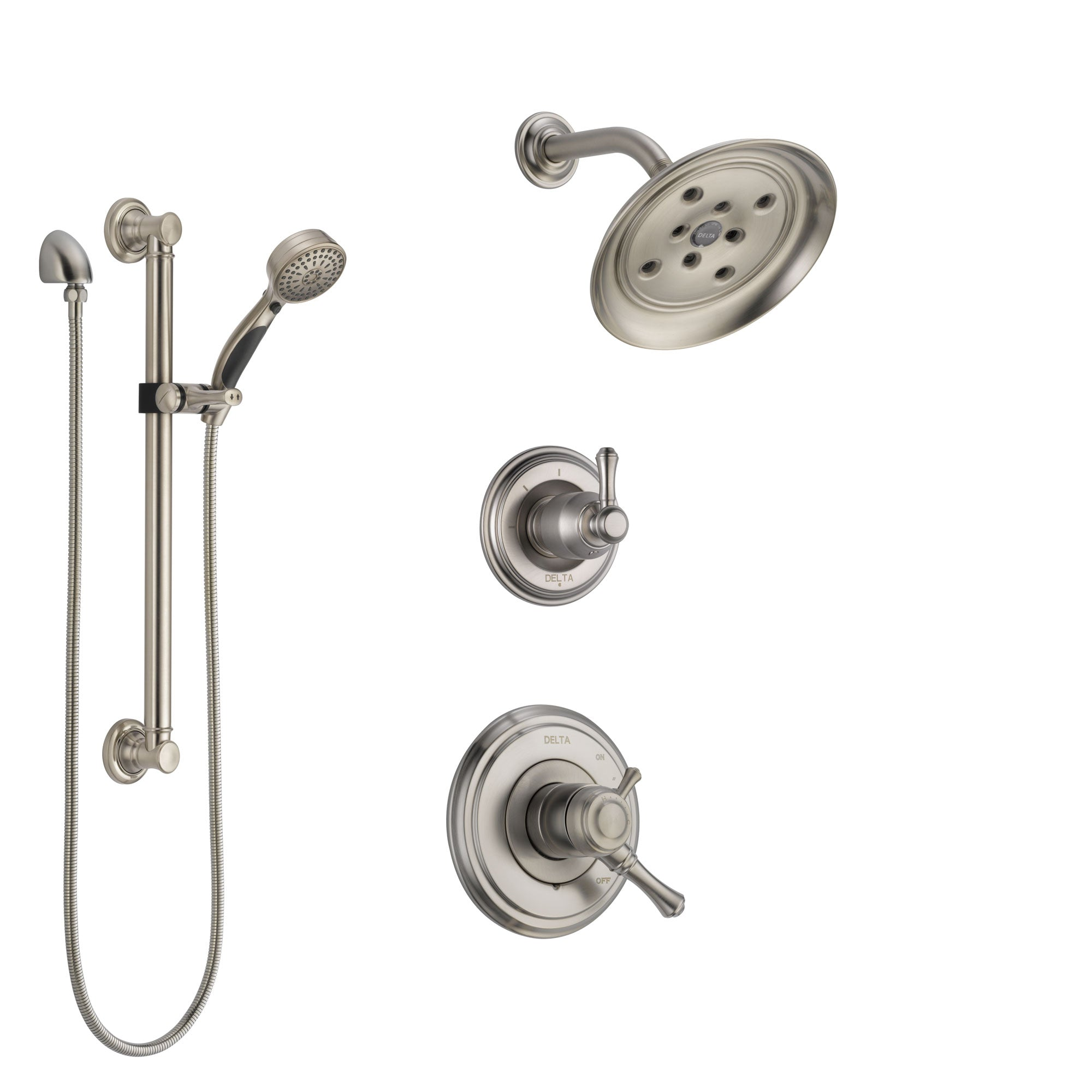 Delta Cassidy Stainless Steel Finish Shower System with Dual Control Handle, 3-Setting Diverter, Showerhead, and Hand Shower with Grab Bar SS17297SS3