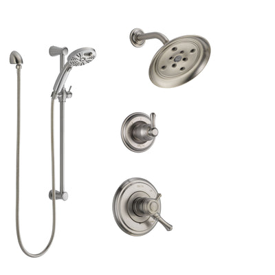 Delta Cassidy Stainless Steel Finish Shower System with Dual Control, 3-Setting Diverter, Showerhead, and Temp2O Hand Shower with Slidebar SS17297SS4