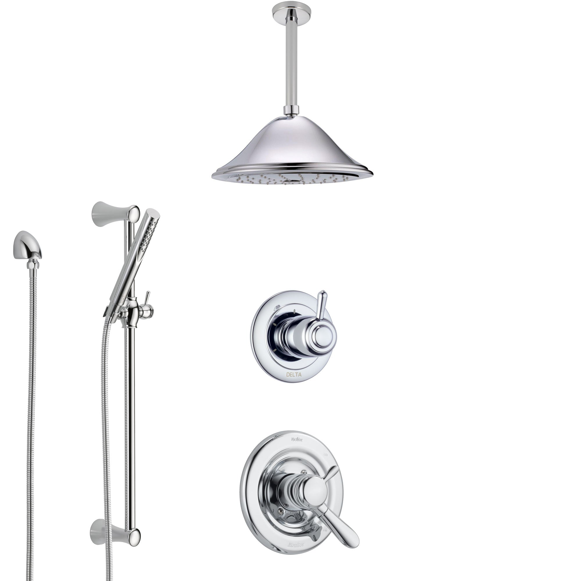 Delta Lahara Chrome Finish Shower System with Dual Control Handle, 3-Setting Diverter, Ceiling Mount Showerhead, and Hand Shower with Slidebar SS17385
