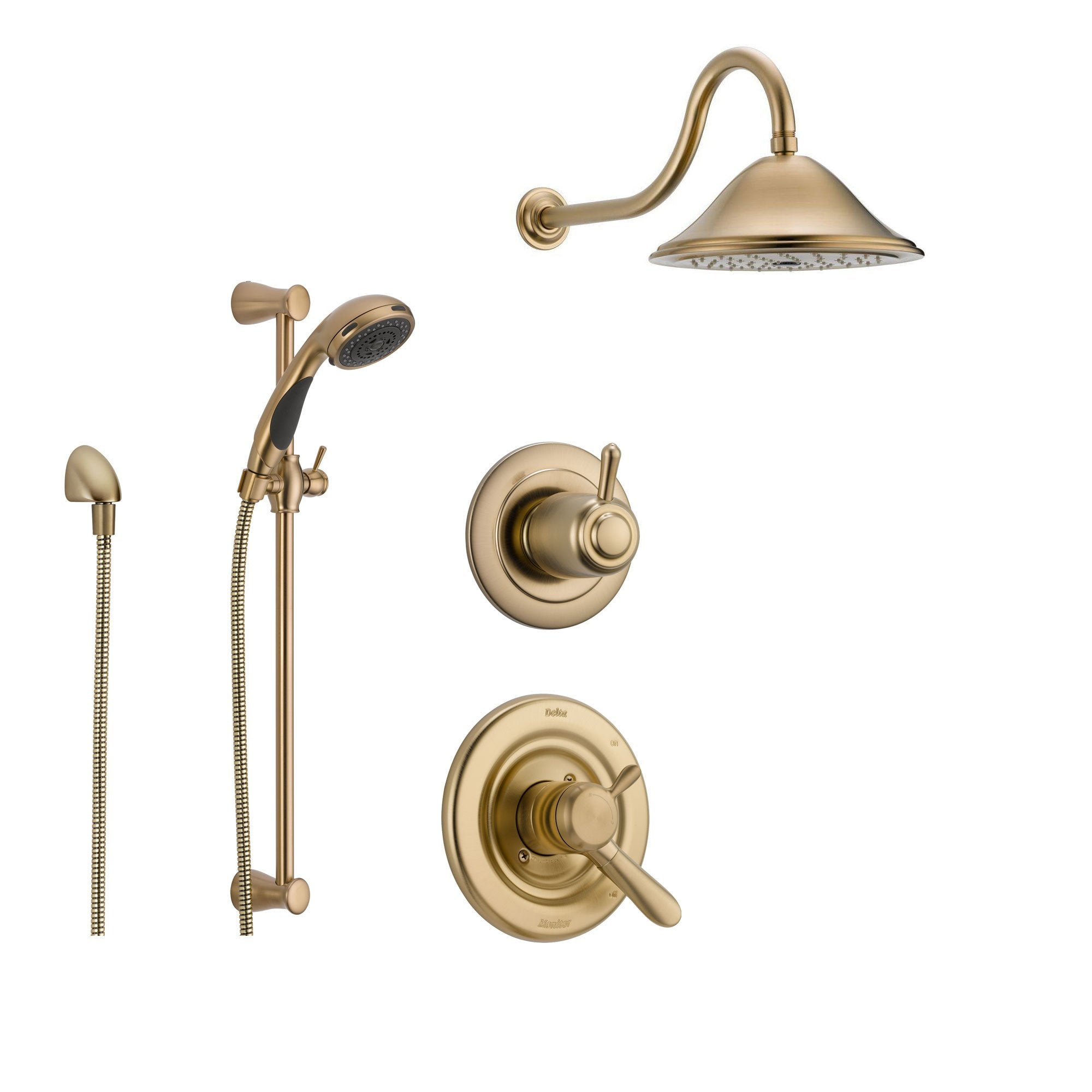 Delta Lahara Champagne Bronze Shower System With Dual Control Shower Handle 3 Setting Diverter Large Rain Showerhead And Handheld Shower Ss173881cz