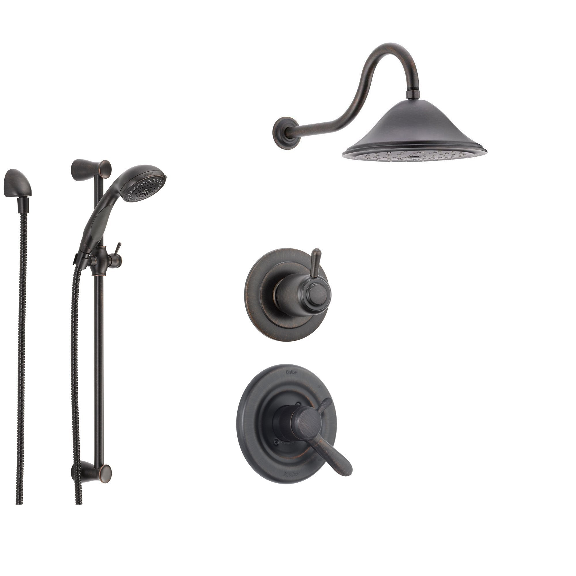 Delta Lahara Venetian Bronze Shower System with Dual Control Shower Handle, 3-setting Diverter, Large Rain Showerhead, and Handheld Shower SS173881RB