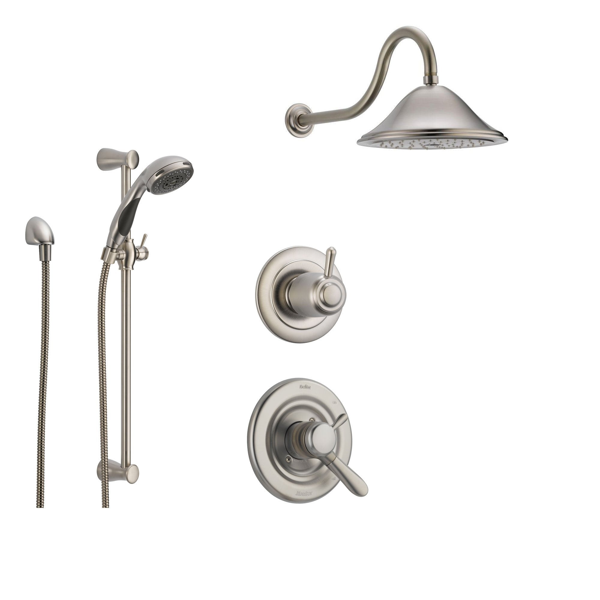 Delta Lahara Stainless Steel Shower System With Dual Control Shower Handle 3 Setting Diverter Large Rain Showerhead And Handheld Shower Ss173881ss