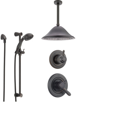 Delta Lahara Venetian Bronze Shower System with Dual Control Shower Handle, 3-setting Diverter, Large Ceiling Mount Rain Shower Head, and Handheld Shower SS173882RB