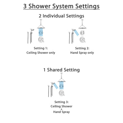 Delta Lahara Stainless Steel Shower System with Dual Control Shower Handle, 3-setting Diverter, Large Ceiling Mount Showerhead, and Handheld Shower SS173882SS
