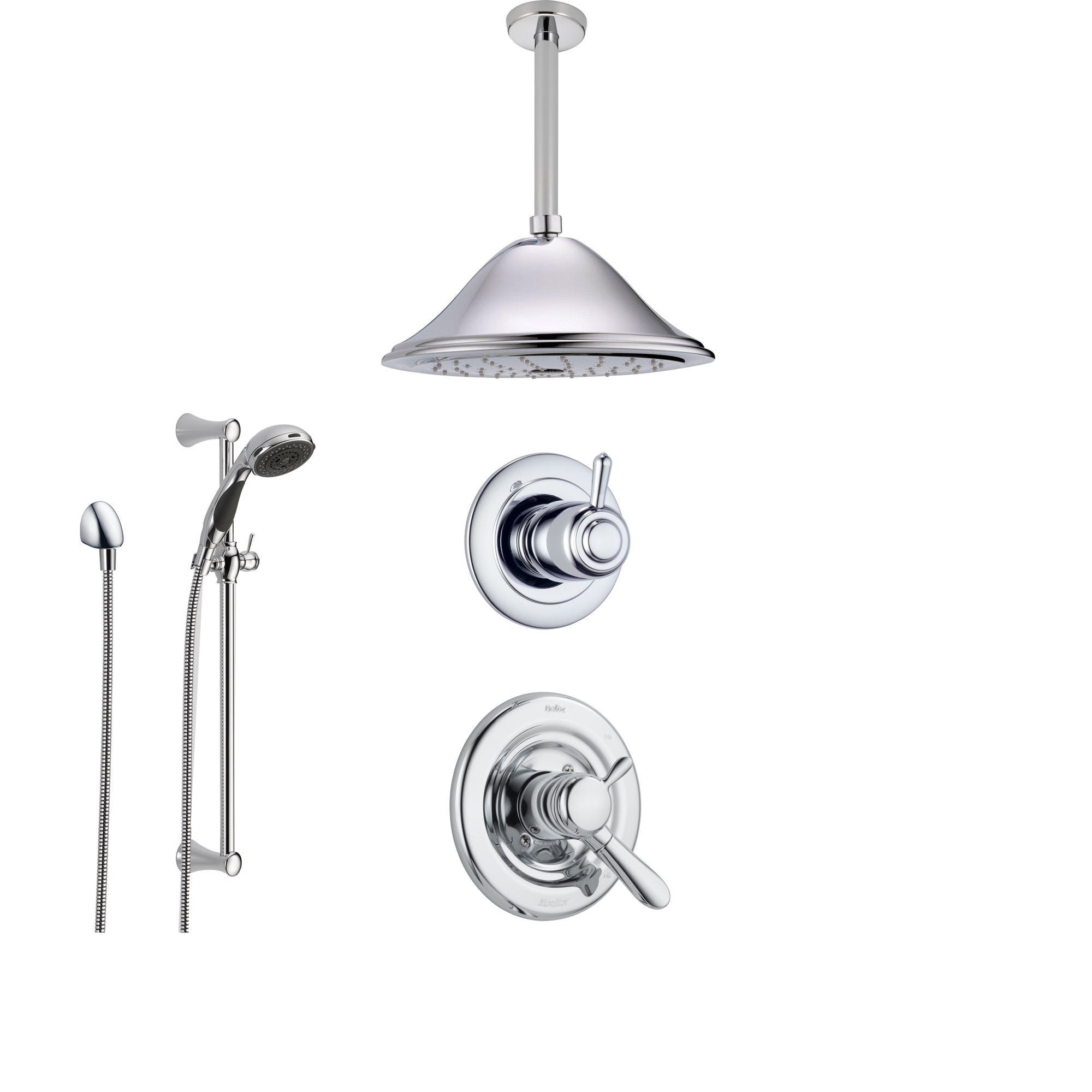 Delta Lahara Chrome Shower System with Dual Control Shower Handle, 3-setting Diverter, Large Ceiling Mount Rain Showerhead, and Handheld Shower SS173882