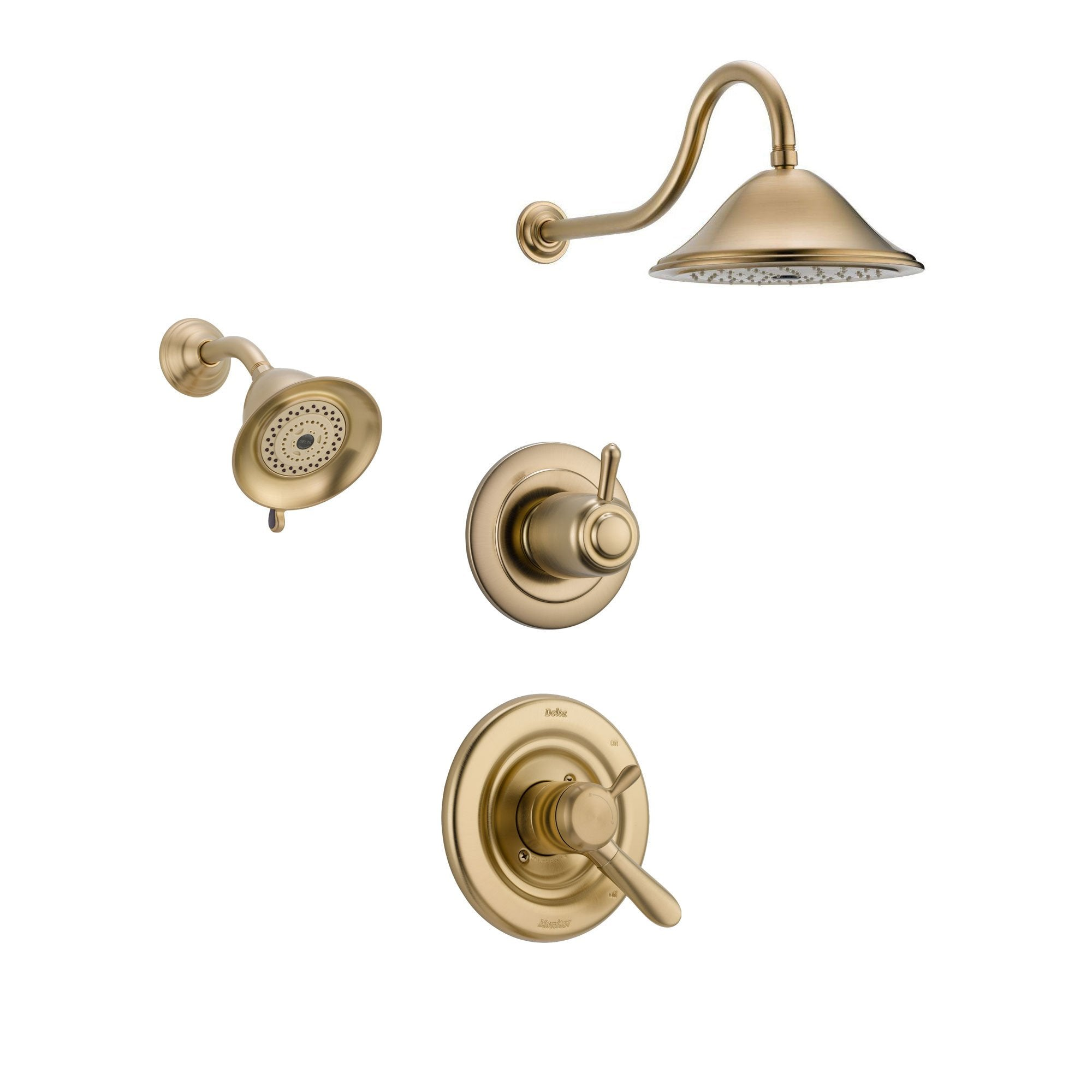 Delta Lahara Champagne Bronze Shower System with Dual Control Shower Handle, 3-setting Diverter, Large Rain Showerhead, and Smaller Wall Mount Showerhead SS173883CZ