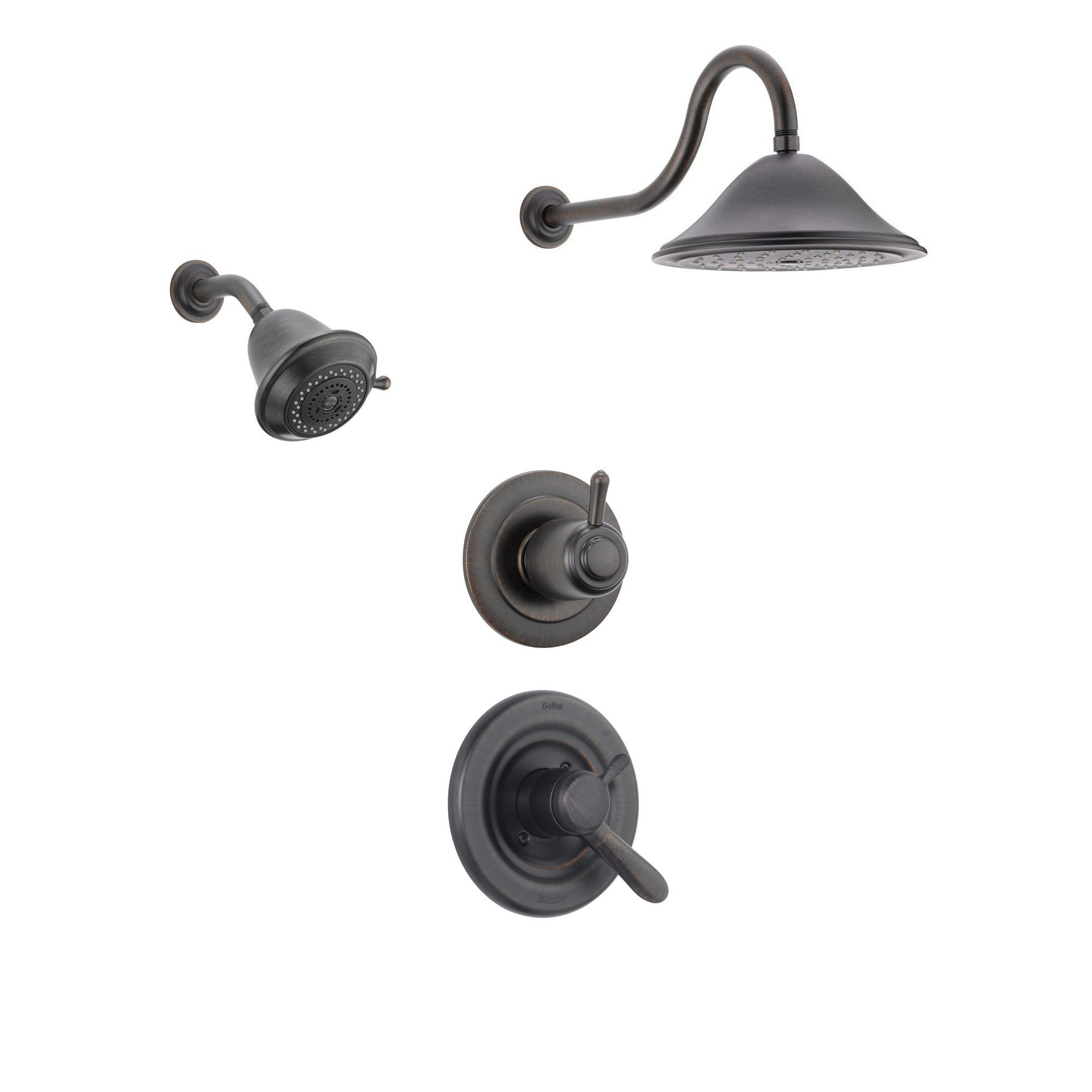 Delta Lahara Venetian Bronze Shower System with Dual Control Shower Handle, 3-setting Diverter, Large Rain Showerhead, and Smaller Wall Mount Showerhead SS173883RB