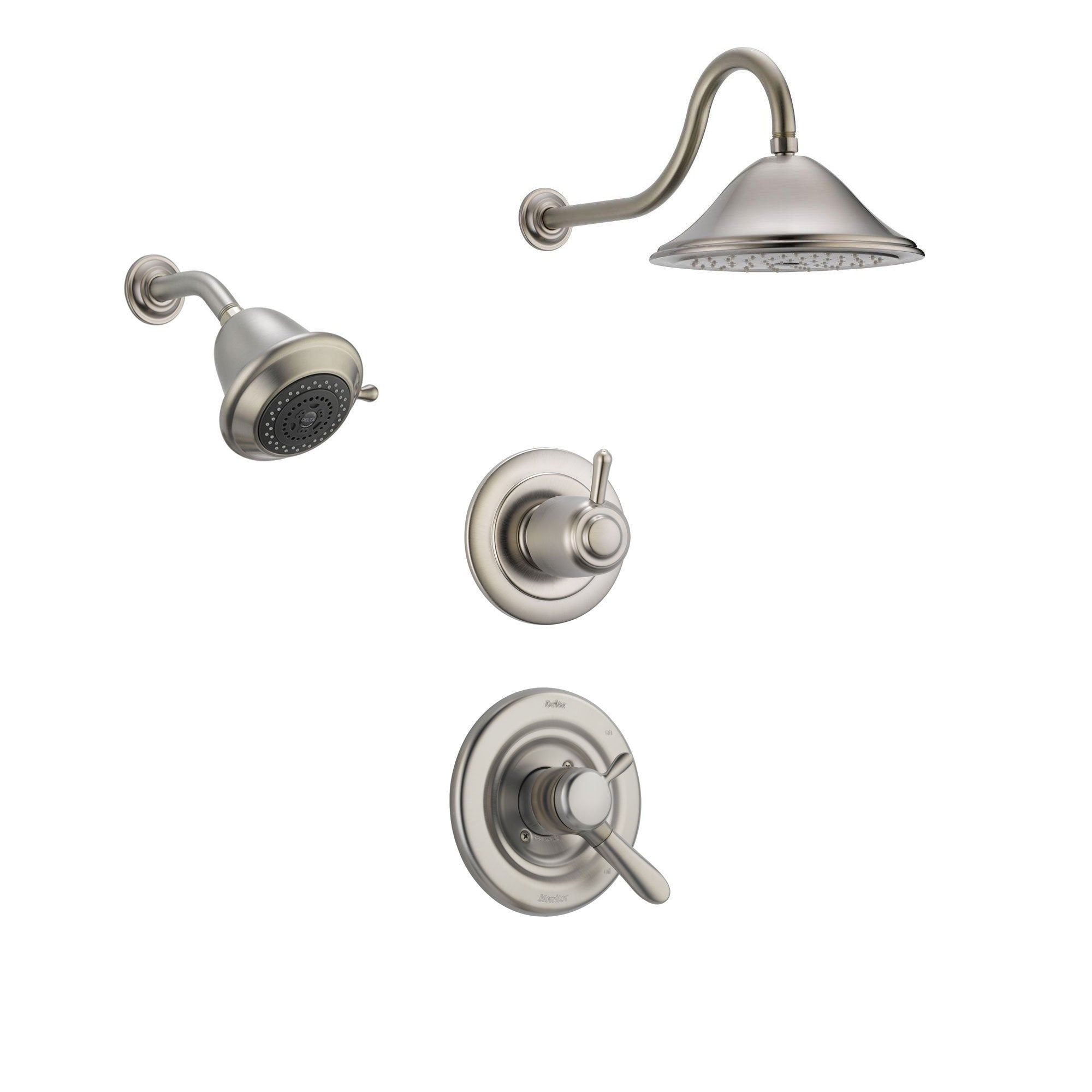 Delta Lahara Stainless Steel Shower System with Dual Control Shower Handle, 3-setting Diverter, Large Rain Showerhead, and Smaller Wall Mount Showerhead SS173883SS