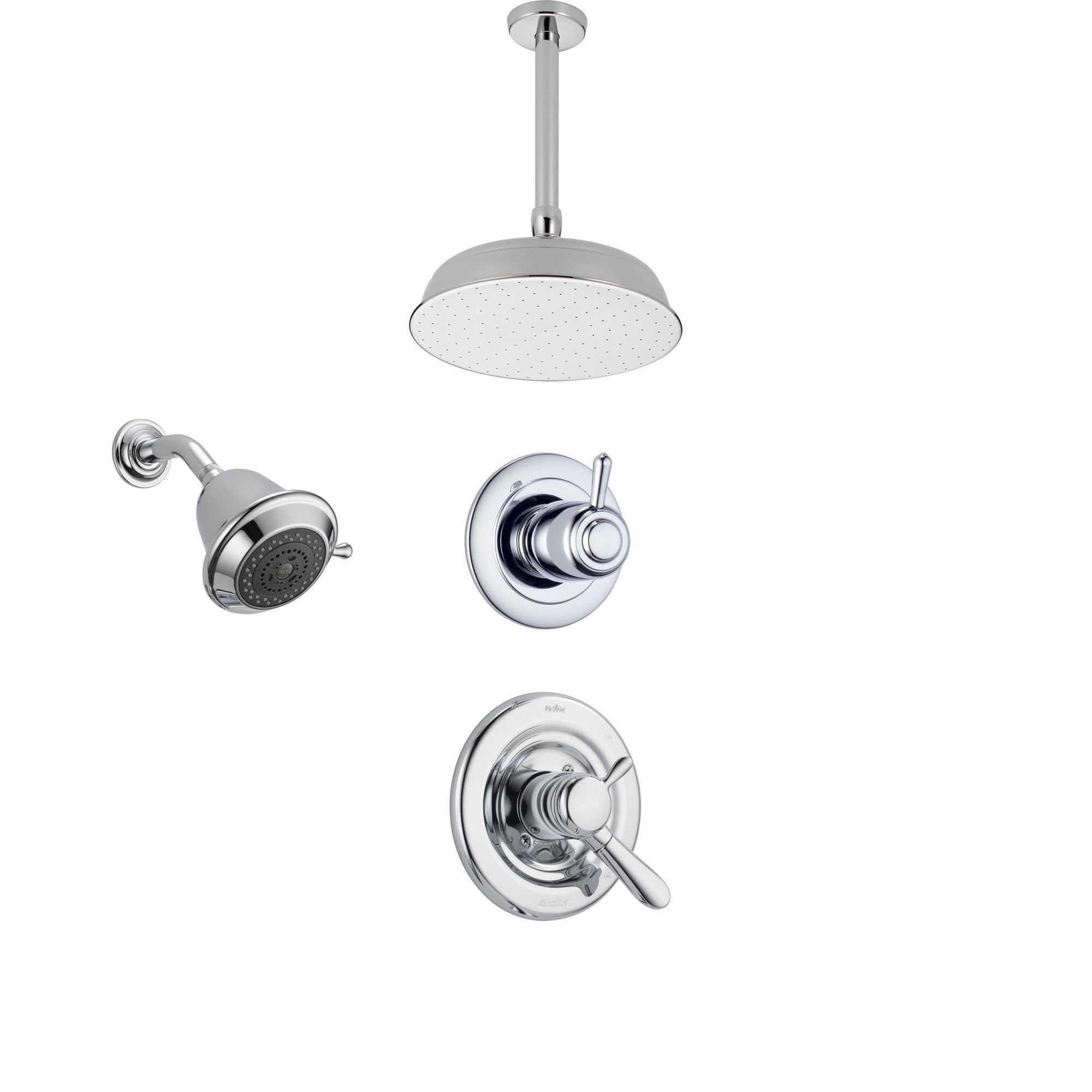 Delta Lahara Chrome Shower System with Dual Control Shower Handle, 3-setting Diverter, Large Ceiling Mount Rain Showerhead, and Wall Mount Showerhead SS173883