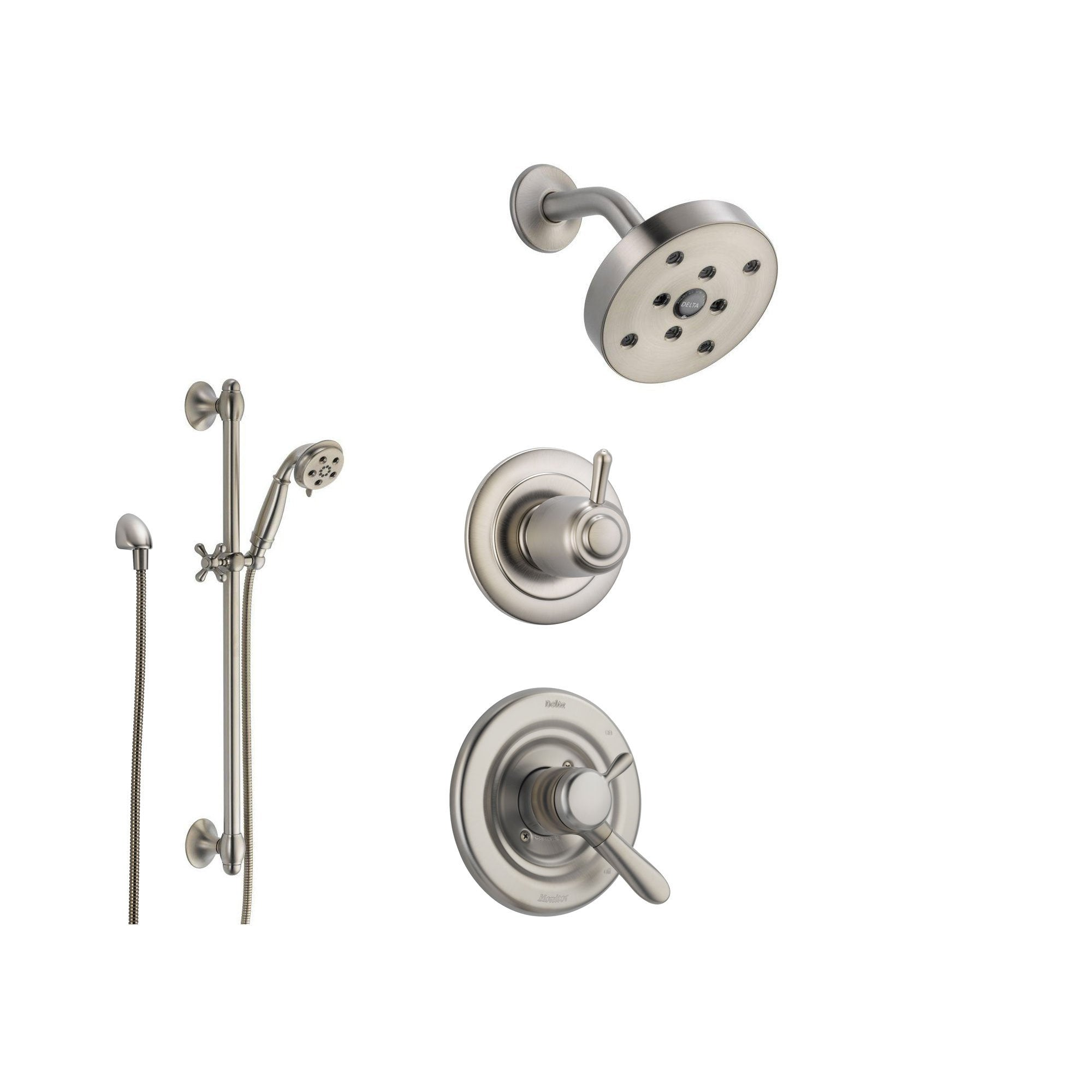 Delta Lahara Stainless Steel Shower System With Dual Control Shower Handle,  3 Setting Diverter