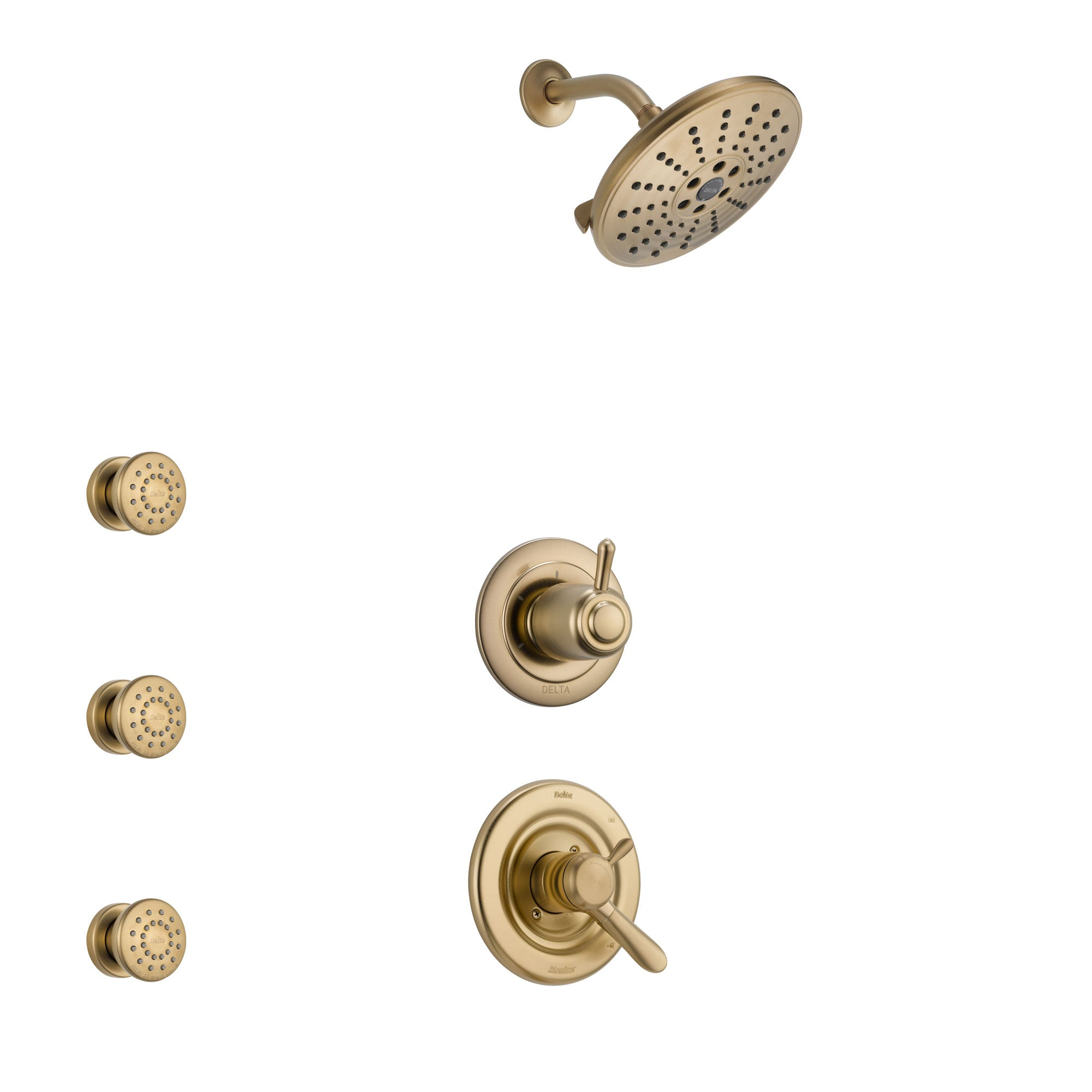 Delta Lahara Champagne Bronze Finish Shower System with Dual Control Handle, 3-Setting Diverter, Showerhead, and 3 Body Sprays SS1738CZ6
