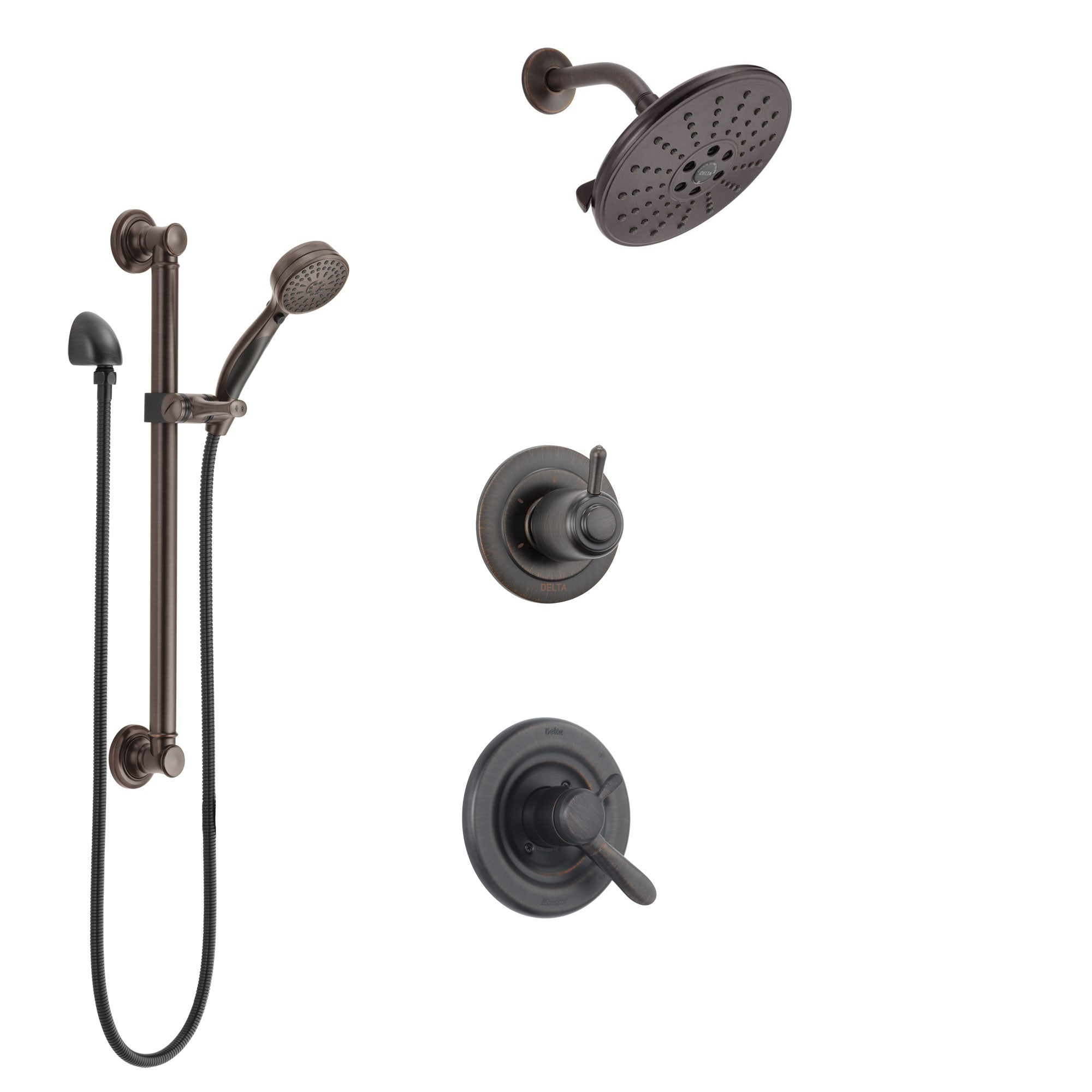 Delta Lahara Venetian Bronze Finish Shower System with Dual Control Handle, 3-Setting Diverter, Showerhead, and Hand Shower with Grab Bar SS1738RB2