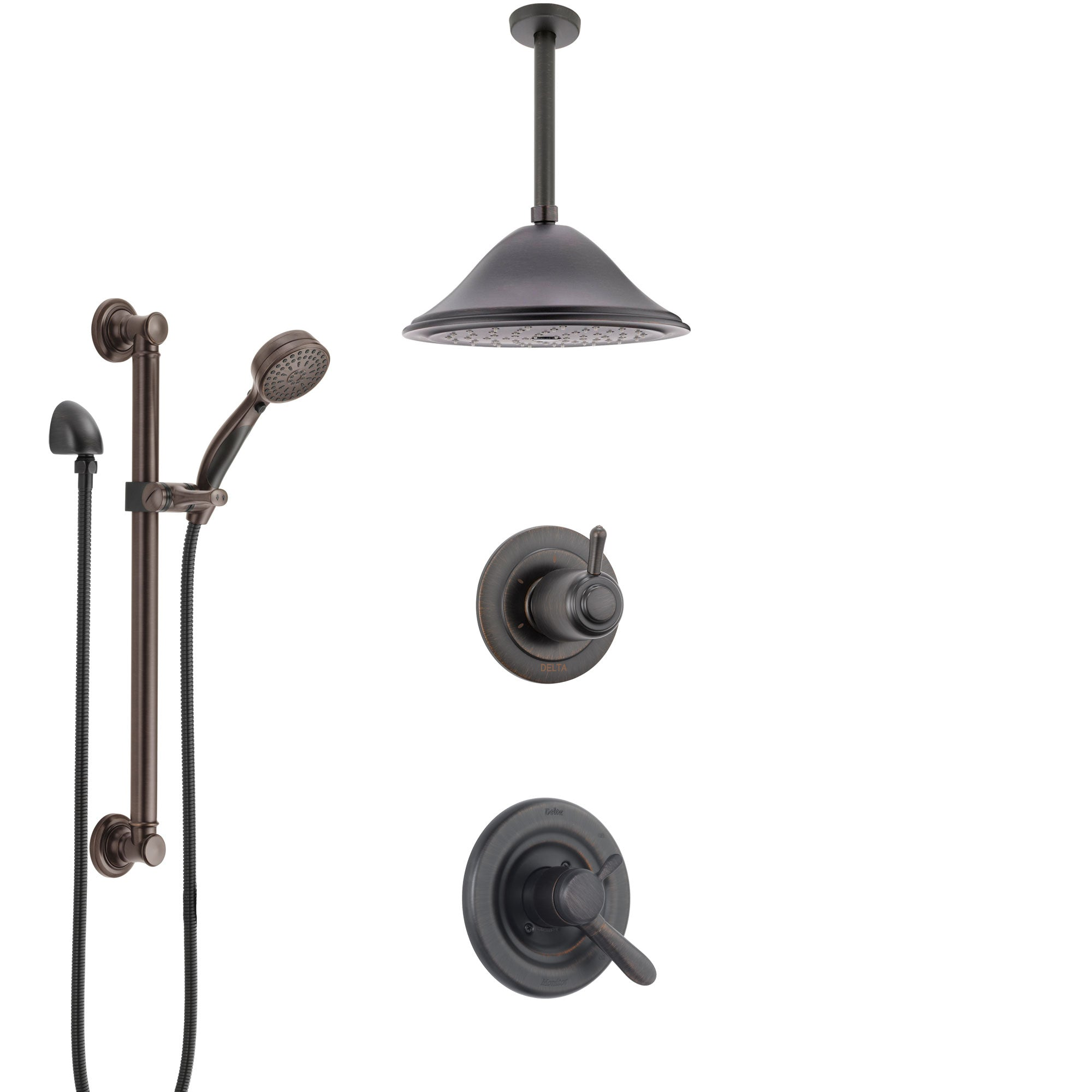 Delta Lahara Venetian Bronze Shower System with Dual Control Handle, Diverter, Ceiling Mount Showerhead, and Hand Shower with Grab Bar SS1738RB8