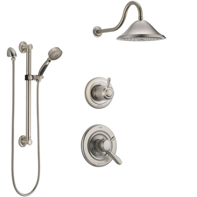 Delta Lahara Stainless Steel Finish Shower System with Dual Control Handle, 3-Setting Diverter, Showerhead, and Hand Shower with Grab Bar SS1738SS1