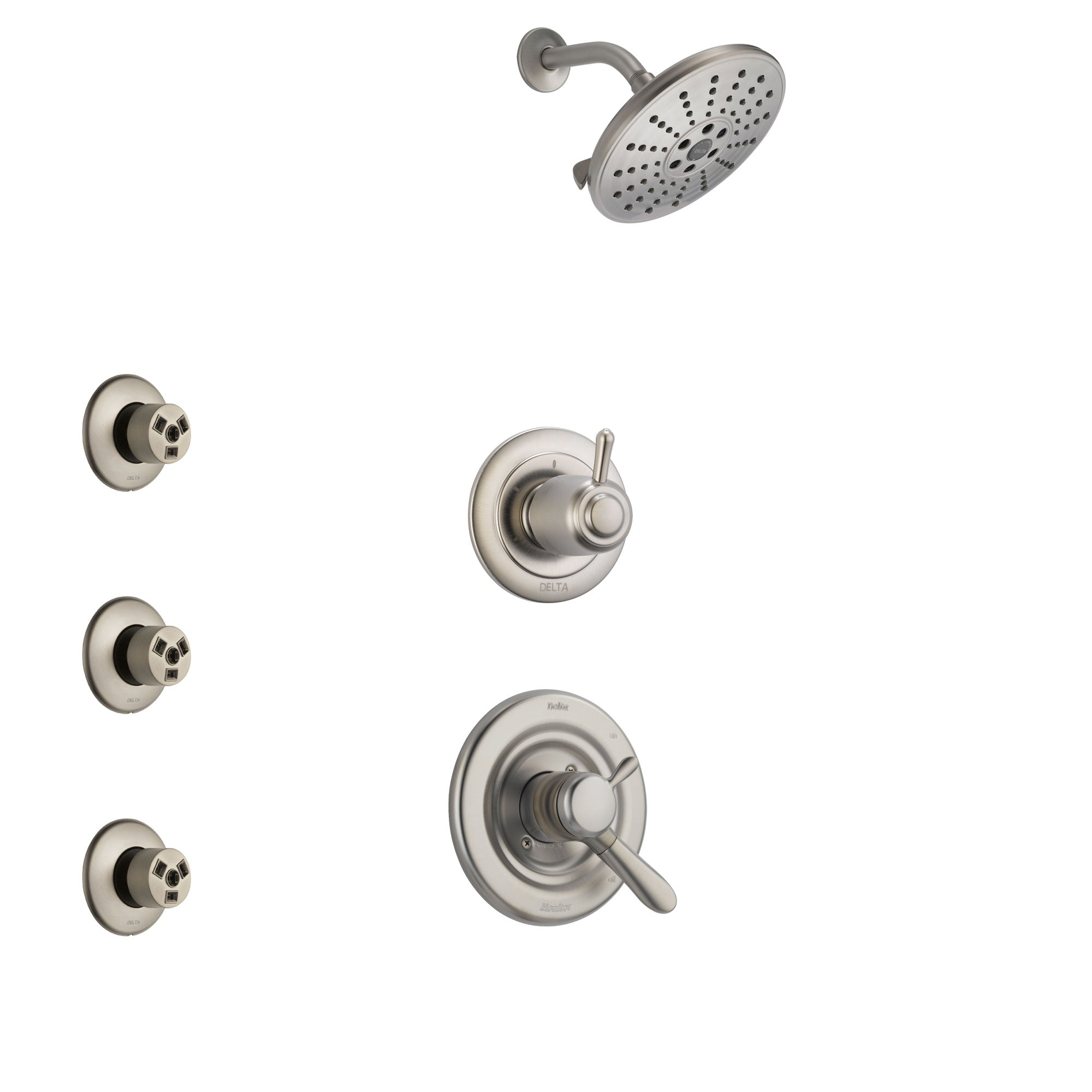 Delta Lahara Stainless Steel Finish Shower System with Dual Control Handle, 3-Setting Diverter, Showerhead, and 3 Body Sprays SS1738SS3