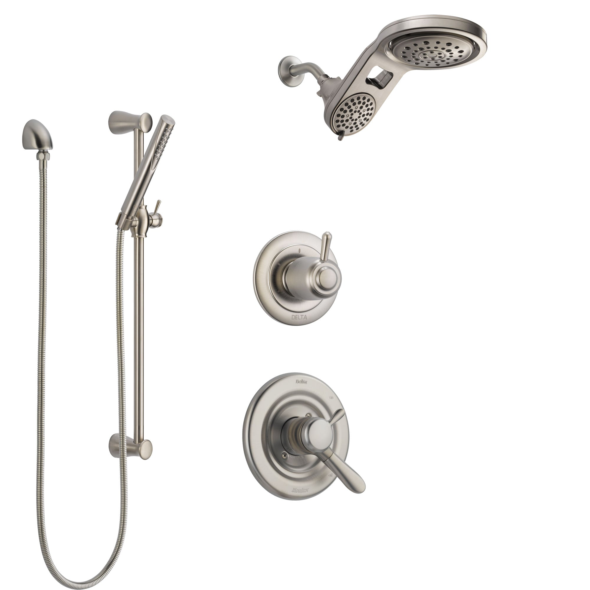 Delta Lahara Stainless Steel Finish Shower System with Dual Control Handle, Diverter, Dual Showerhead, and Hand Shower with Slidebar SS1738SS5