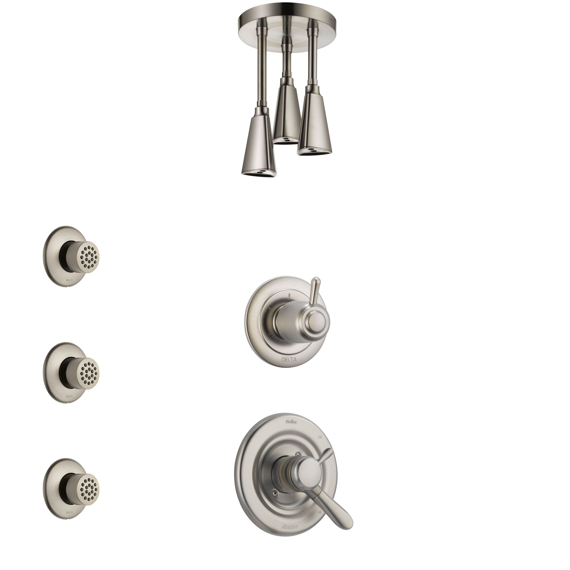 Delta Lahara Stainless Steel Finish Shower System with Dual Control Handle, 3-Setting Diverter, Ceiling Mount Showerhead, and 3 Body Sprays SS1738SS8