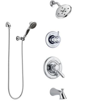 Delta Lahara Chrome Finish Tub and Shower System with Dual Control Handle, 3-Setting Diverter, Showerhead, and Hand Shower with Wall Bracket SS174383