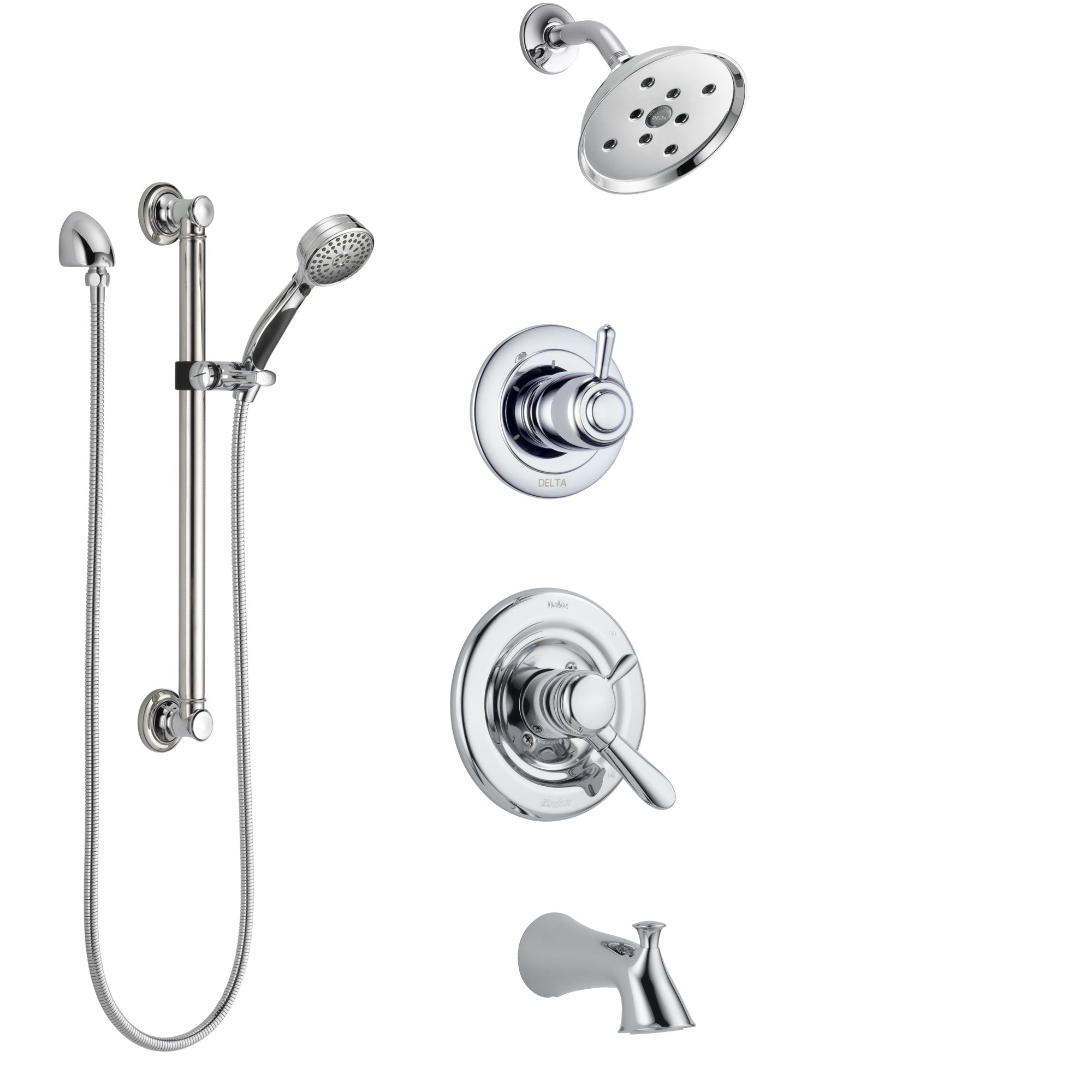 Delta Lahara Chrome Finish Tub and Shower System with Dual Control Handle, 3-Setting Diverter, Showerhead, and Hand Shower with Grab Bar SS174384