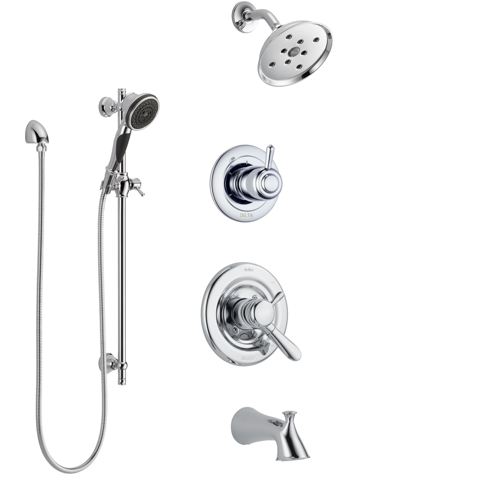 Delta Lahara Chrome Finish Tub and Shower System with Dual Control Handle, 3-Setting Diverter, Showerhead, and Hand Shower with Slidebar SS174385