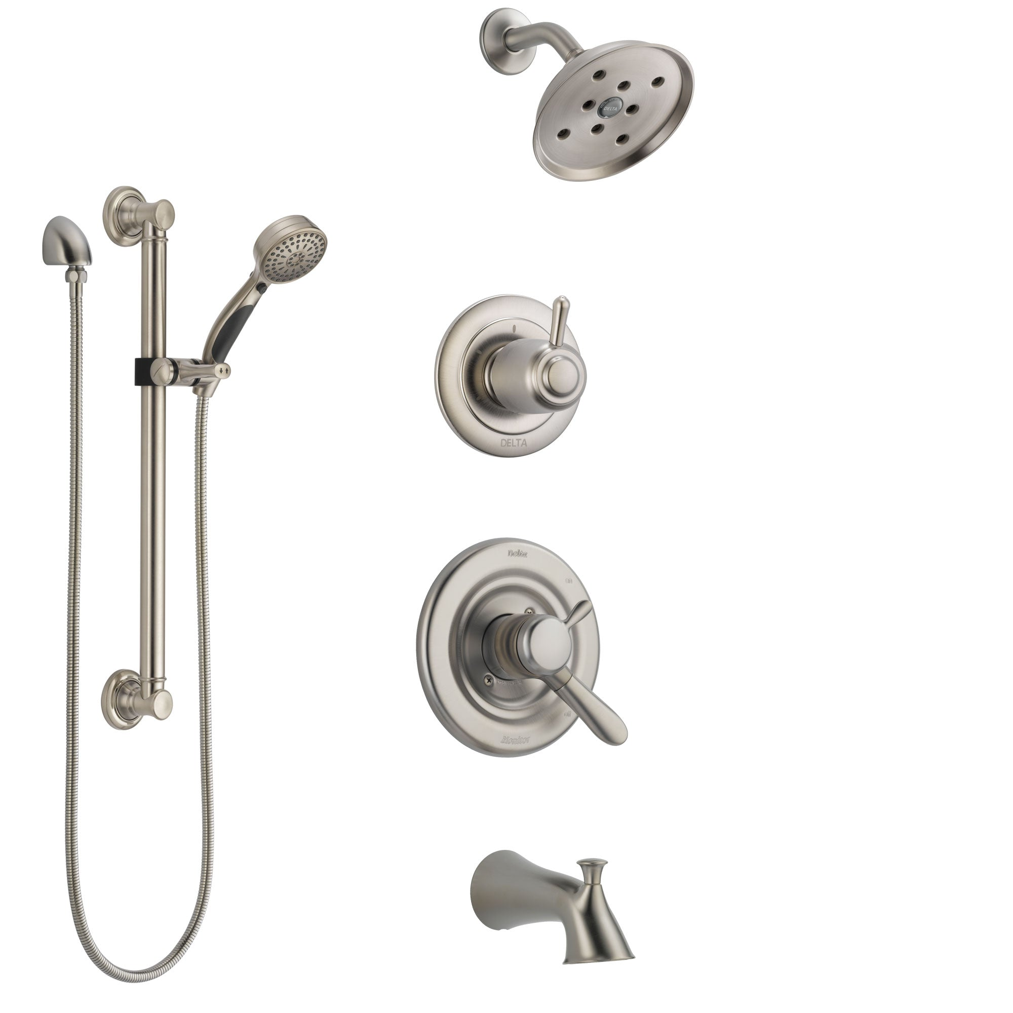 Etonnant Delta Lahara Stainless Steel Finish Tub And Shower System With Dual Control  Handle, Diverter,