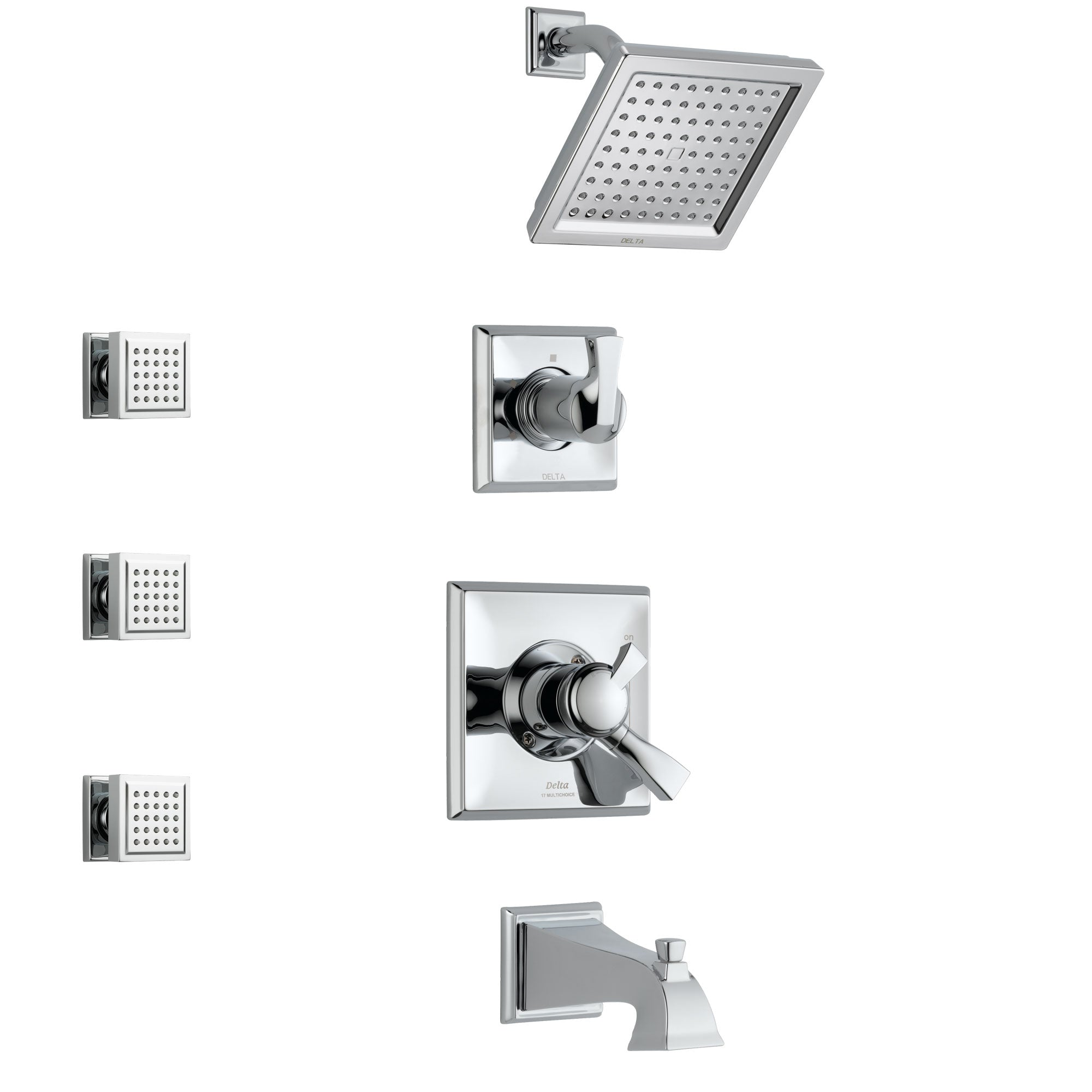 Delta Dryden Chrome Finish Tub and Shower System with Dual Control Handle, 3-Setting Diverter, Showerhead, and 3 Body Sprays SS1745111