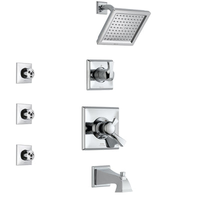 Delta Dryden Chrome Finish Tub and Shower System with Dual Control Handle, 3-Setting Diverter, Showerhead, and 3 Body Sprays SS1745112