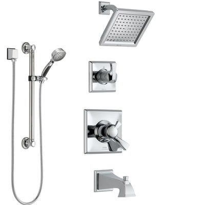 Delta Dryden Chrome Finish Tub and Shower System with Dual Control Handle, 3-Setting Diverter, Showerhead, and Hand Shower with Grab Bar SS1745113