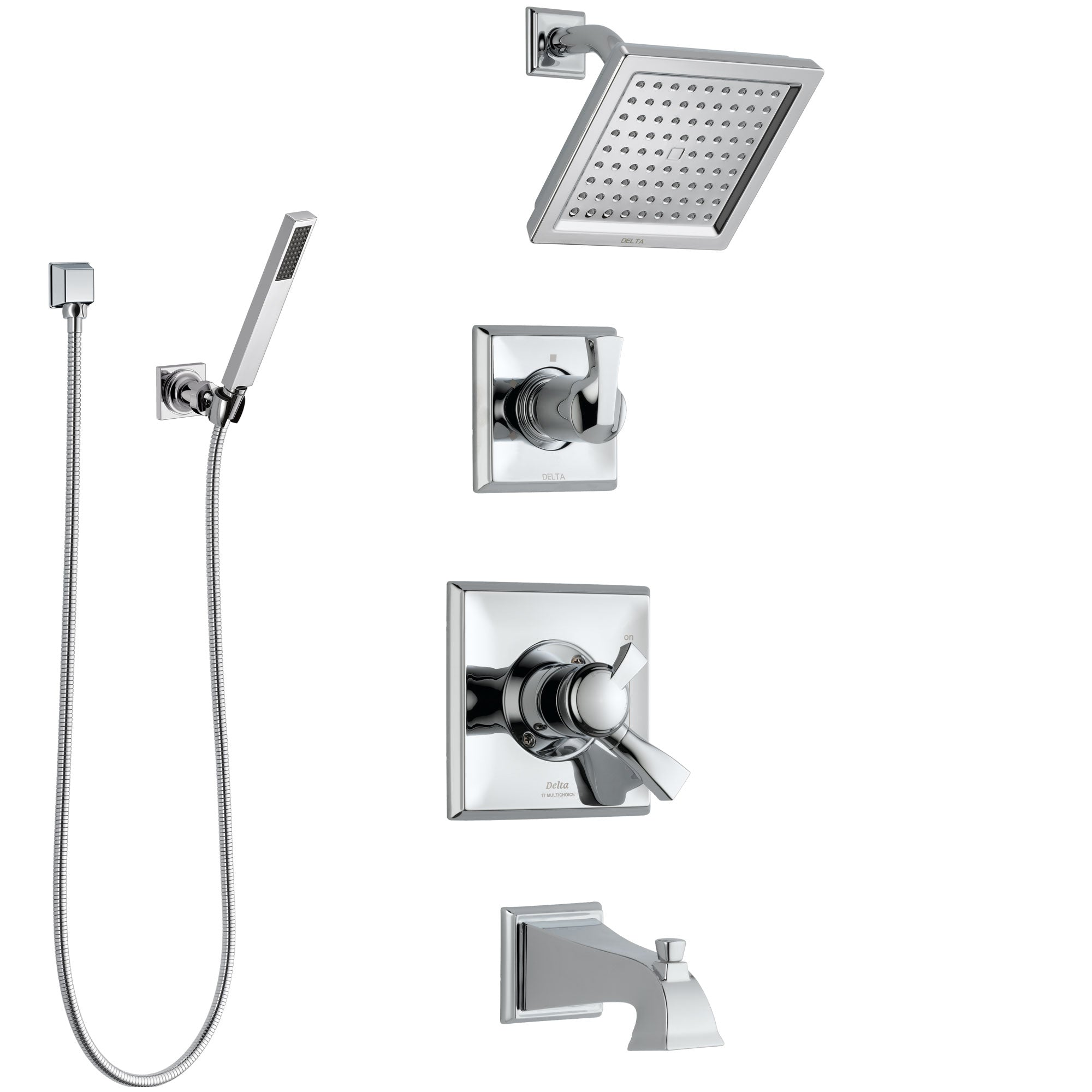 Delta Dryden Chrome Finish Tub and Shower System with Dual Control Handle, 3-Setting Diverter, Showerhead, and Hand Shower with Wall Bracket SS1745114