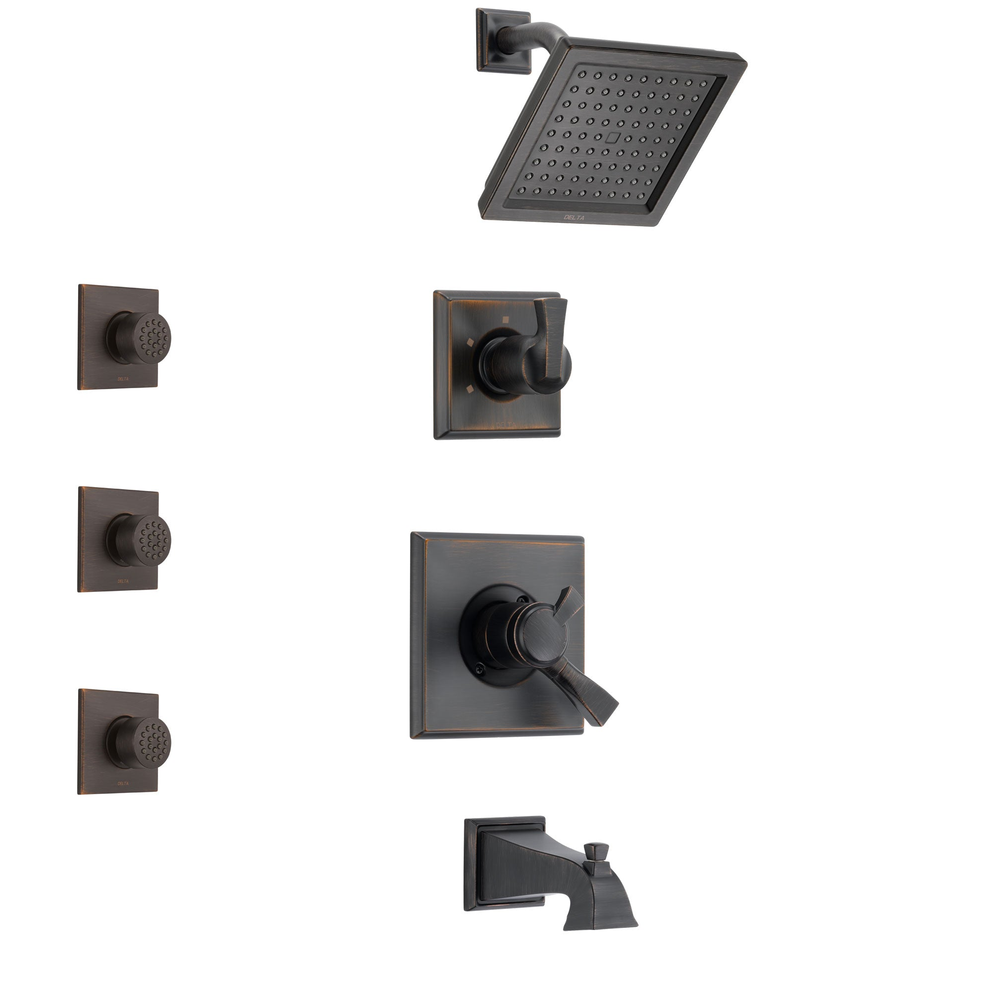 Delta Dryden Venetian Bronze Finish Tub and Shower System with Dual Control Handle, 3-Setting Diverter, Showerhead, and 3 Body Sprays SS174511RB2