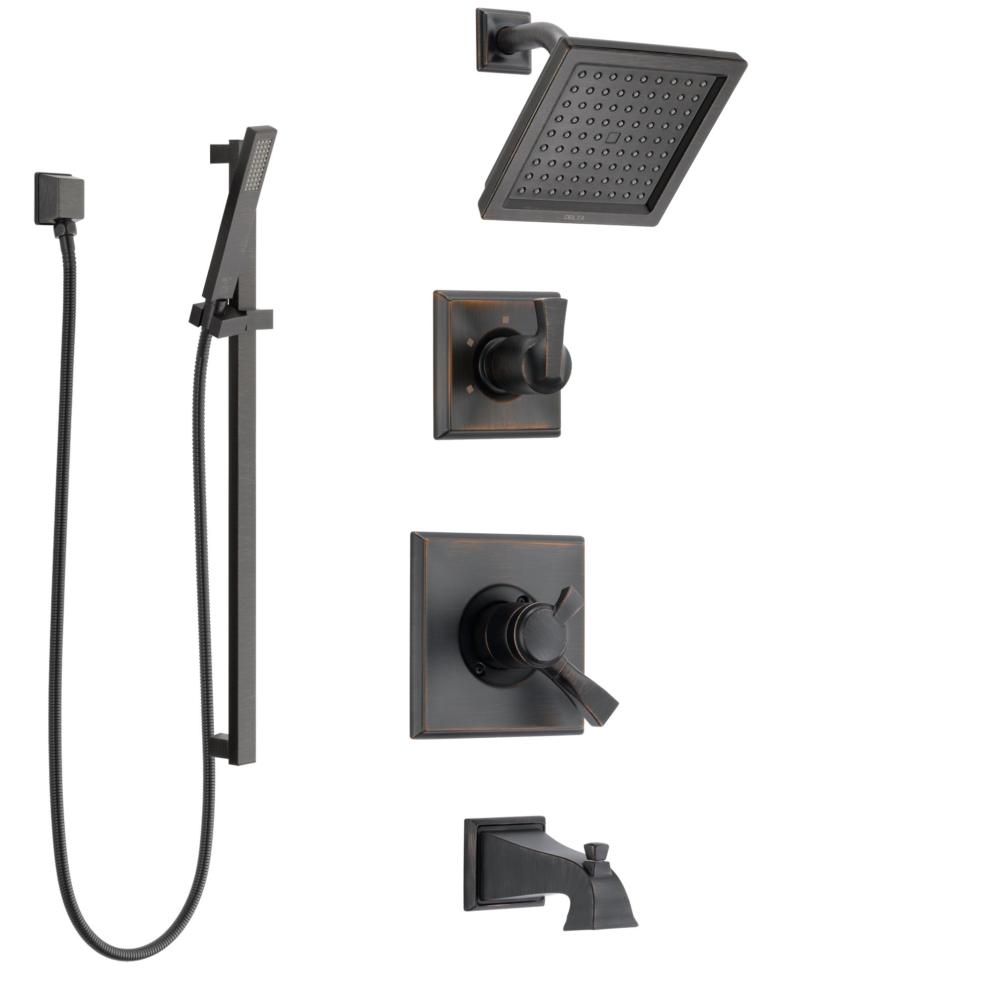 Delta Dryden Venetian Bronze Tub and Shower System with Dual Control Handle, 3-Setting Diverter, Showerhead, and Hand Shower with Slidebar SS174511RB4