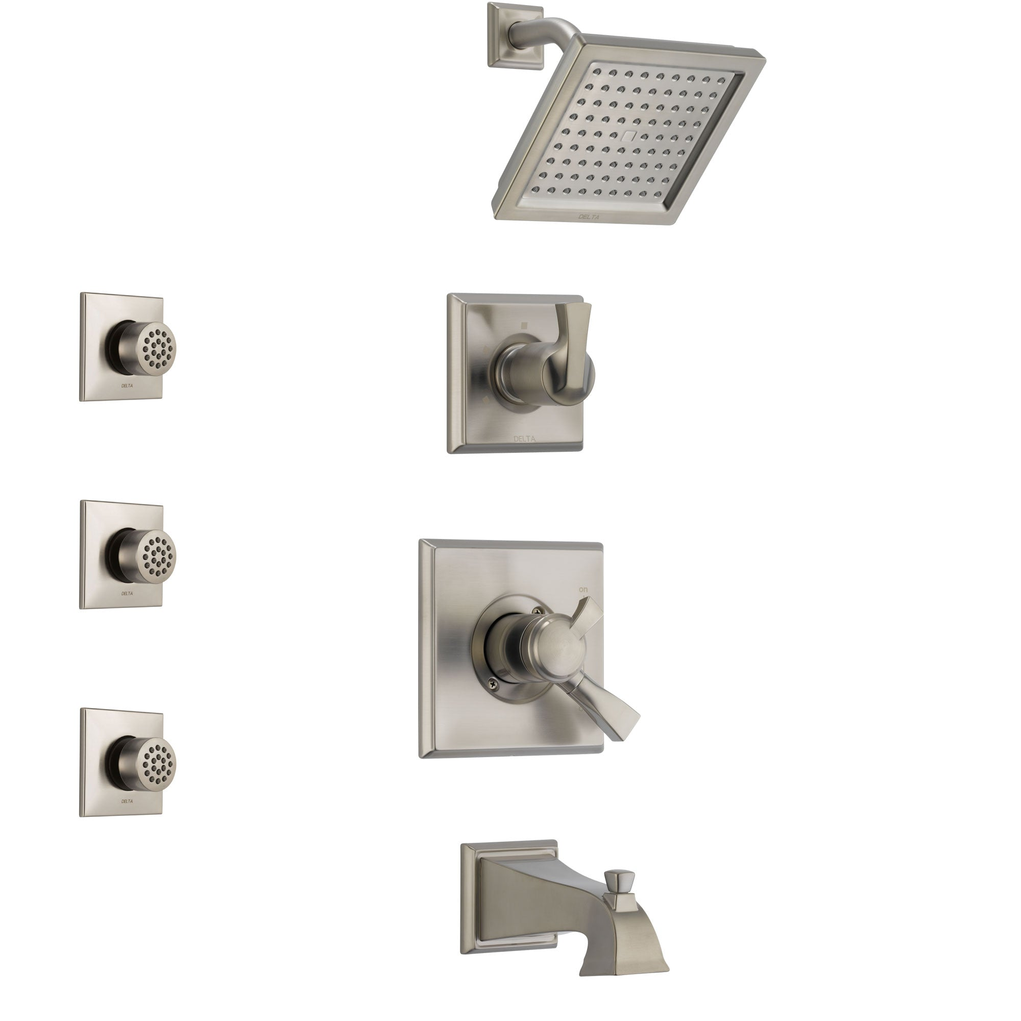 Delta Dryden Stainless Steel Finish Tub and Shower System with Dual Control Handle, 3-Setting Diverter, Showerhead, and 3 Body Sprays SS174511SS1