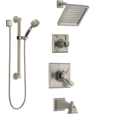 Delta Dryden Stainless Steel Finish Tub and Shower System with Dual Control Handle, Diverter, Showerhead, and Hand Shower with Grab Bar SS174511SS3