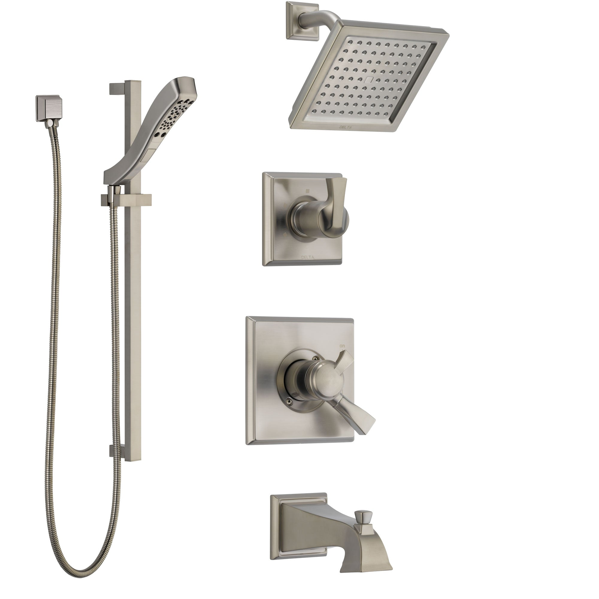 Delta Dryden Stainless Steel Finish Tub and Shower System with Dual Control Handle, Diverter, Showerhead, and Hand Shower with Slidebar SS174511SS5