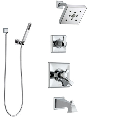 Delta Dryden Chrome Finish Tub and Shower System with Dual Control Handle, 3-Setting Diverter, Showerhead, and Hand Shower with Wall Bracket SS1745124