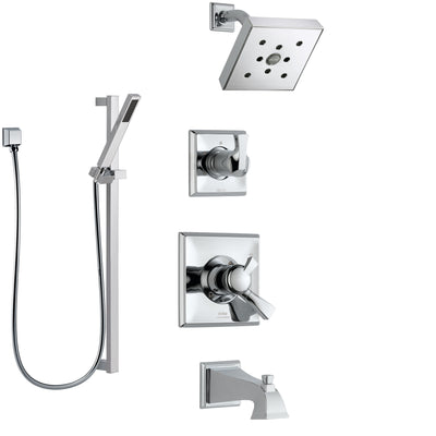 Delta Dryden Chrome Finish Tub and Shower System with Dual Control Handle, 3-Setting Diverter, Showerhead, and Hand Shower with Slidebar SS1745125