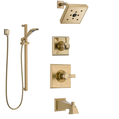Delta Dryden Champagne Bronze Tub and Shower System with Dual Control Handle, 3-Setting Diverter, Showerhead, and Hand Shower with Slidebar SS17451CZ2