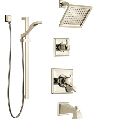 Delta Dryden Polished Nickel Tub and Shower System with Dual Control Handle, 3-Setting Diverter, Showerhead, and Hand Shower with Slidebar SS17451PN2
